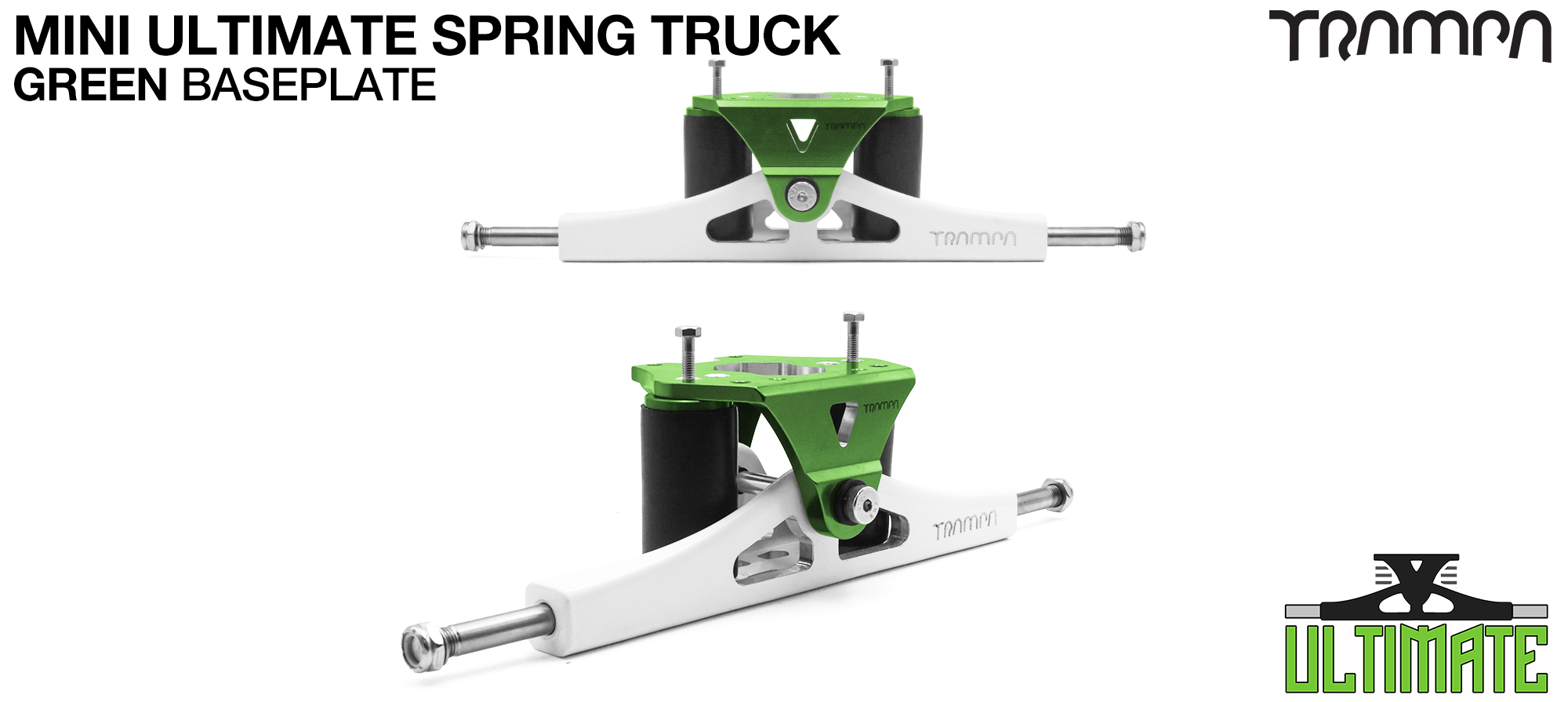 Mini ULTIMATE TRAMPA TRUCKS - CNC FORGED Channel Hanger with 9.525mm TITANIUM Axle CNC Baseplate TITANIUM Kingpin - GREEN