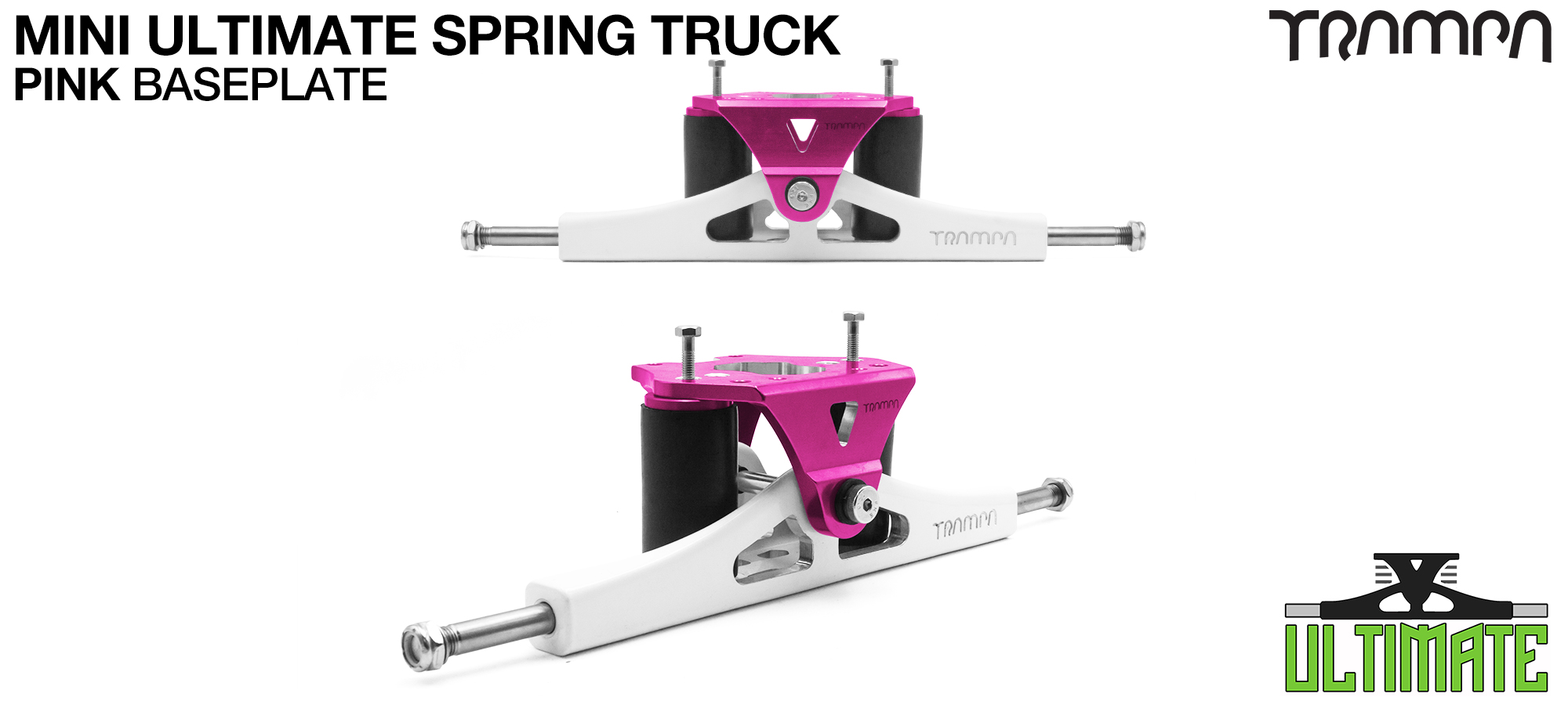 Mini ULTIMATE TRAMPA TRUCKS - CNC FORGED Channel Hanger with 9.525mm TITANIUM Axle CNC Baseplate TITANIUM Kingpin - PINK