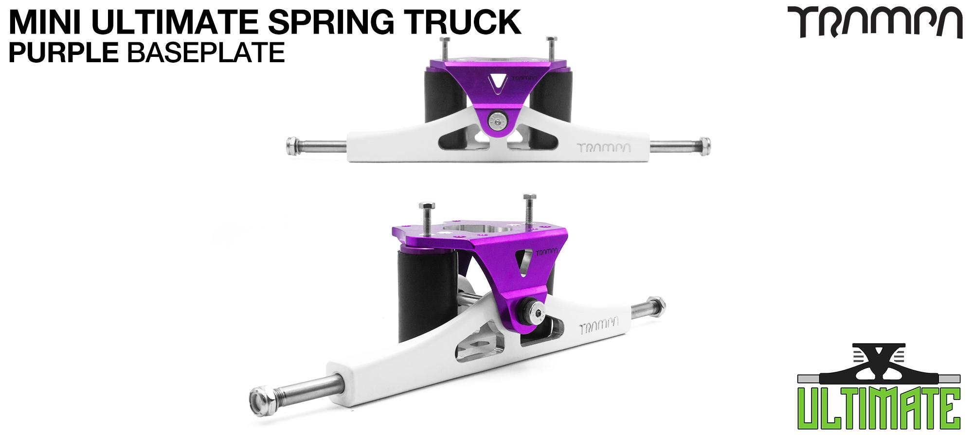 Mini ULTIMATE TRAMPA TRUCKS - CNC FORGED Channel Hanger with 9.525mm TITANIUM Axle CNC Baseplate TITANIUM Kingpin - PURPLE