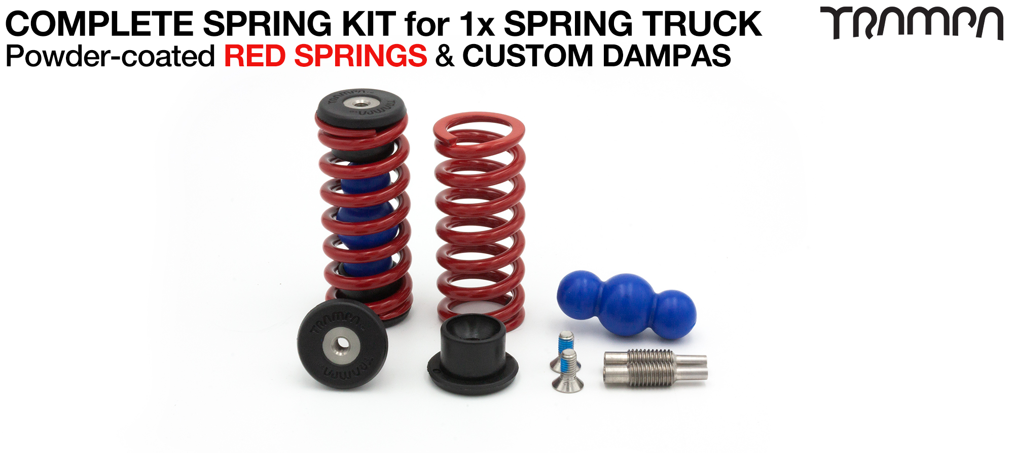 Spring kit Complete for 1x Truck - 2x Spring 2x Dampa 4x Spring Retainers 2x Spring Adjuster & 2 M5x12mm Countersunk Bolt  RED Springs