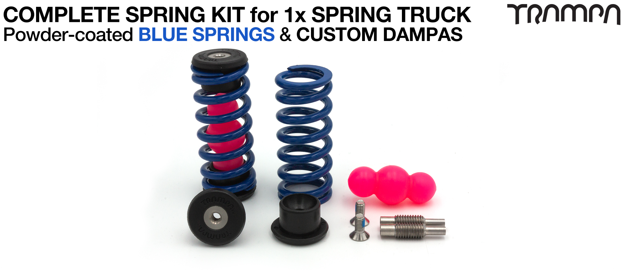 Spring kit Complete for 1x Truck - 2x Spring 2x Dampa 4x Spring Retainers 2x Spring Adjuster & 2 M5x12mm Countersunk Bolt  BLUE Springs
