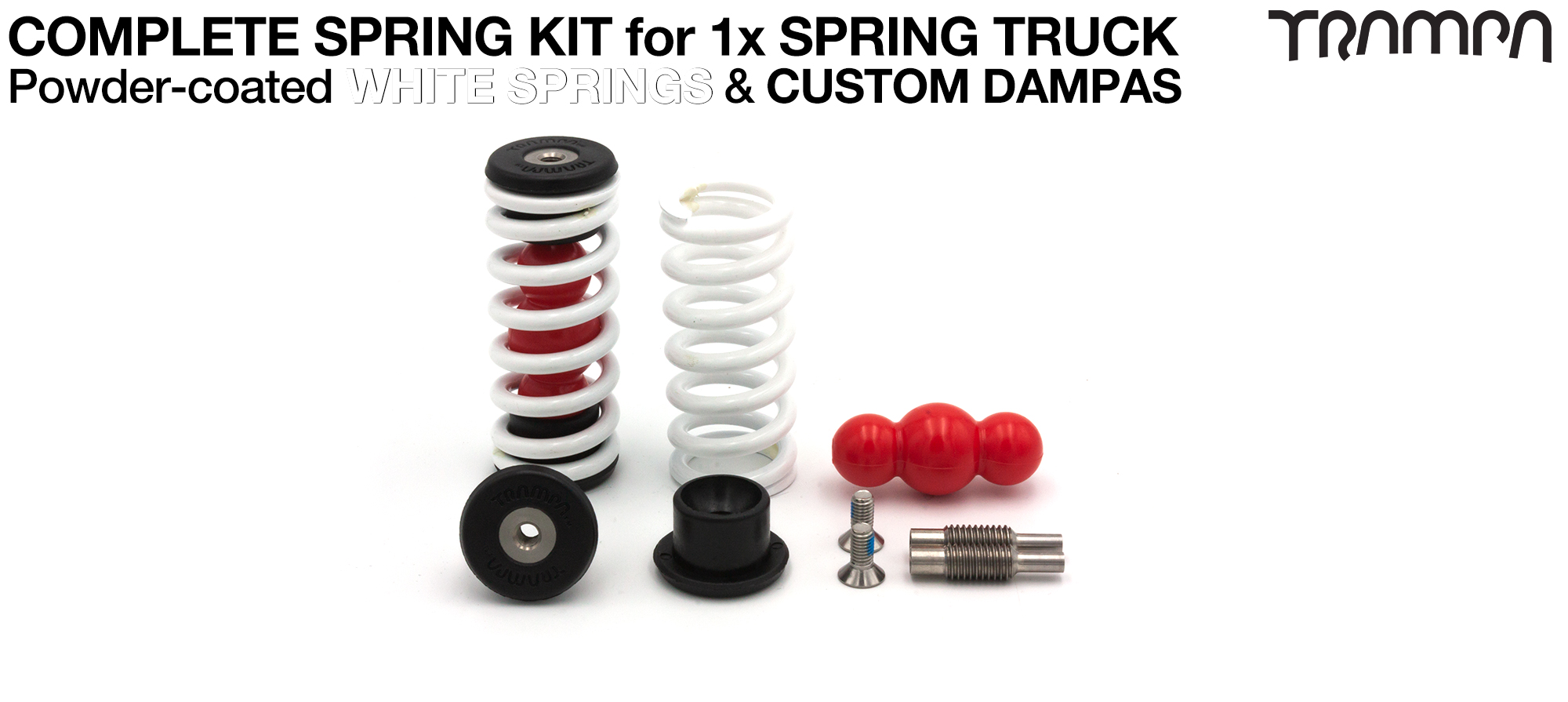 Spring kit Complete for 1x Truck - 2x Spring 2x Dampa 4x Spring Retainers 2x Spring Adjuster & 2 M5x12mm Countersunk Bolt WHITE Springs