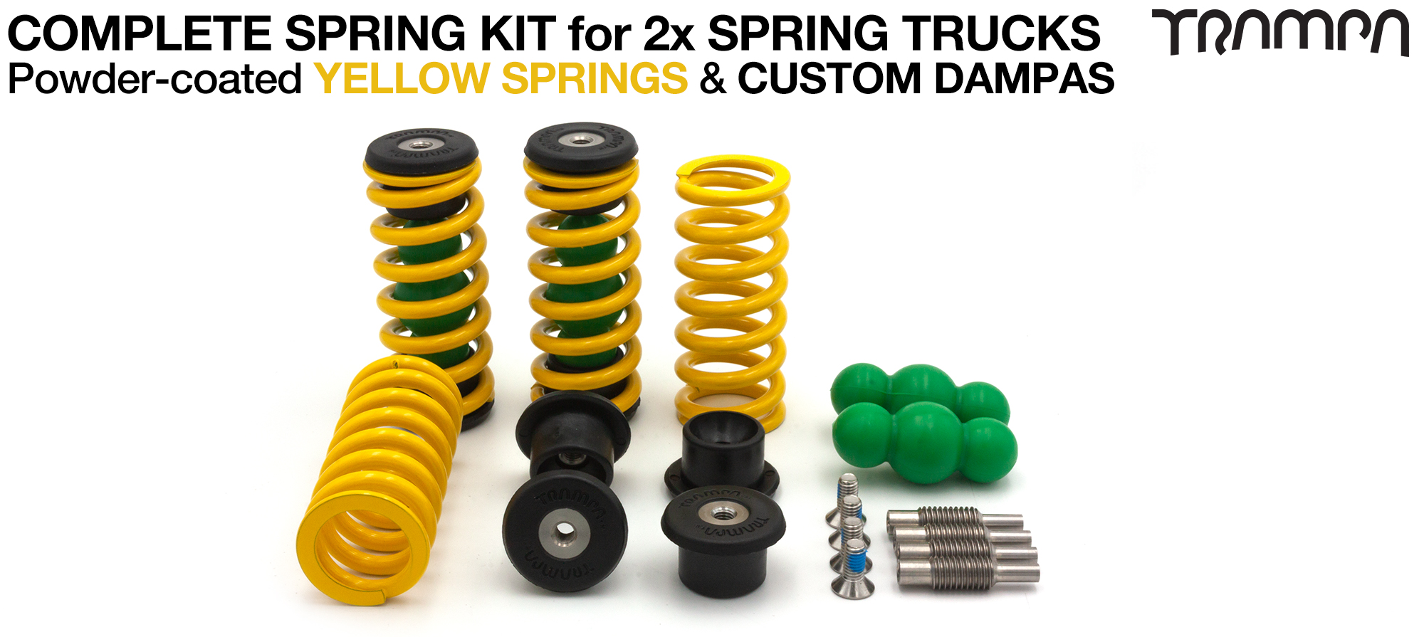 Complete Spring kit for 1x Board = 4x YELLOW Springs 4x Dampa 8x Spring Retainers 4x Spring Adjuster & 4 M5x12mm Countersunk Bolt