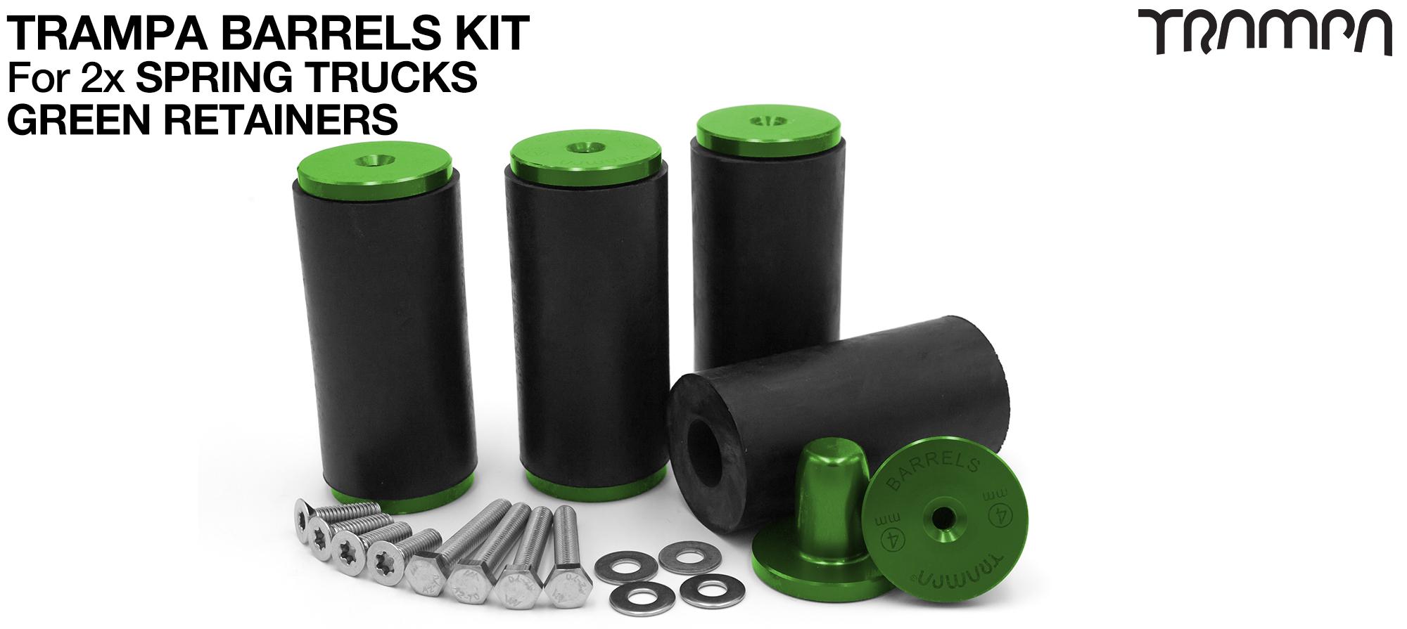 TRAMPA BARRELS Complete DECK Kit - GREEN