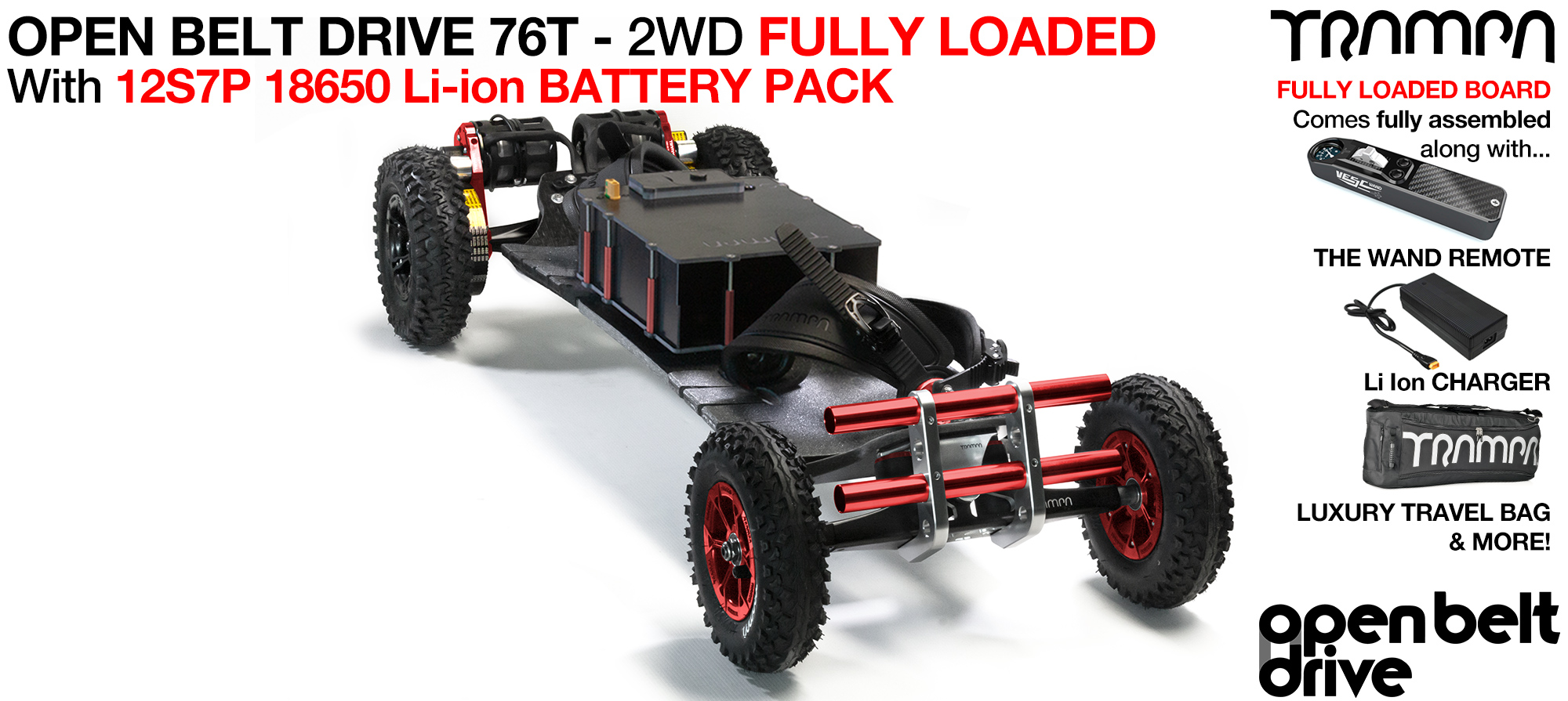 2WD 66T Open Belt Drive TRAMPA Electric Mountainboard with 9Inch Wheels & 76 Tooth Pulleys - LOADED 18650 Cell Pack