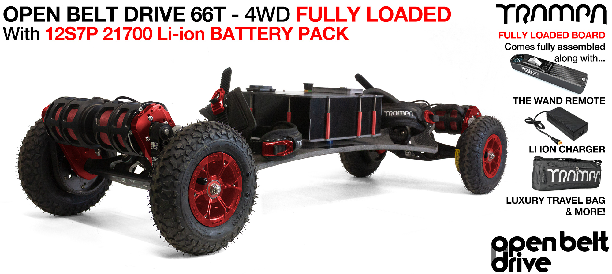 4WD 66t OPEN BELT DRIVE BIGBOI Electric TRAMPA Mountainboard - LOADED