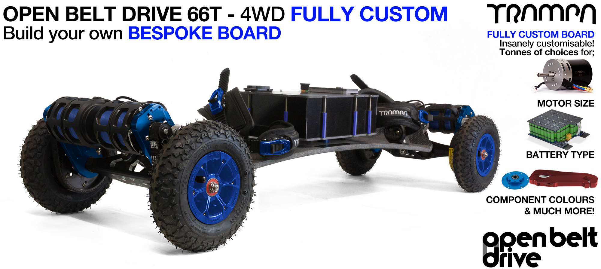 4WD 66T Open Belt Drive TRAMPA Electric Mountainboard with 8 Inch Wheels & 66 Tooth Pulleys - CUSTOM