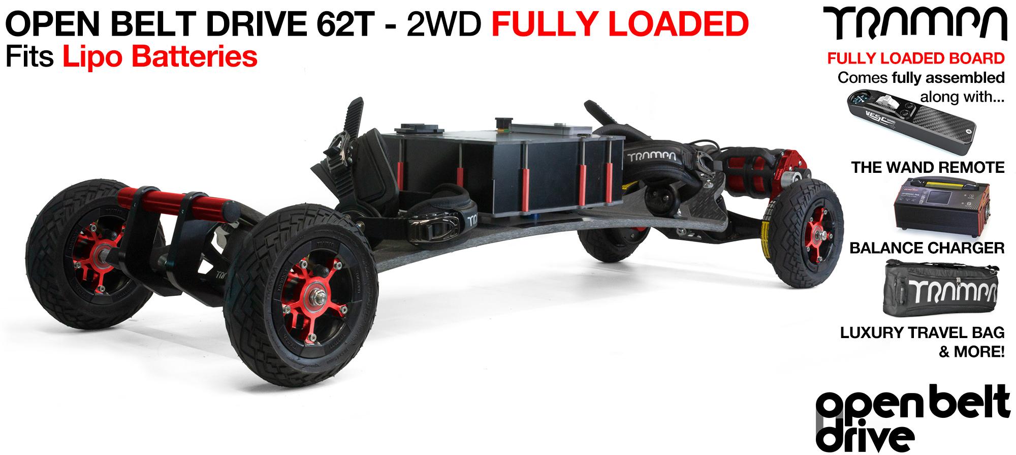 2WD 66T Open Belt Drive TRAMPA Electric Mountainboard with 6 Inch URBAN TREADs Wheels & 62 Tooth Pulleys - LOADED Li-Po