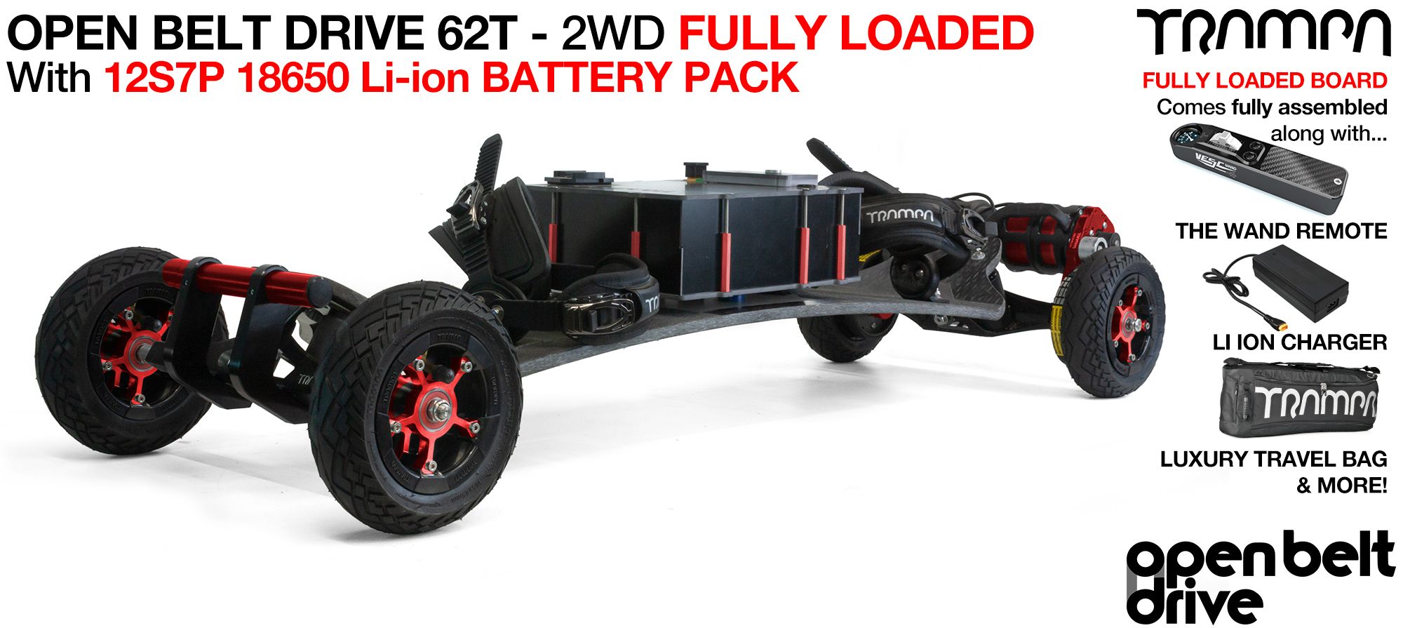 2WD 66T Open Belt Drive TRAMPA Electric Mountainboard with 6 Inch URBAN TREADs Wheels & 62 Tooth Pulleys - LOADED 18650 CELL Pack