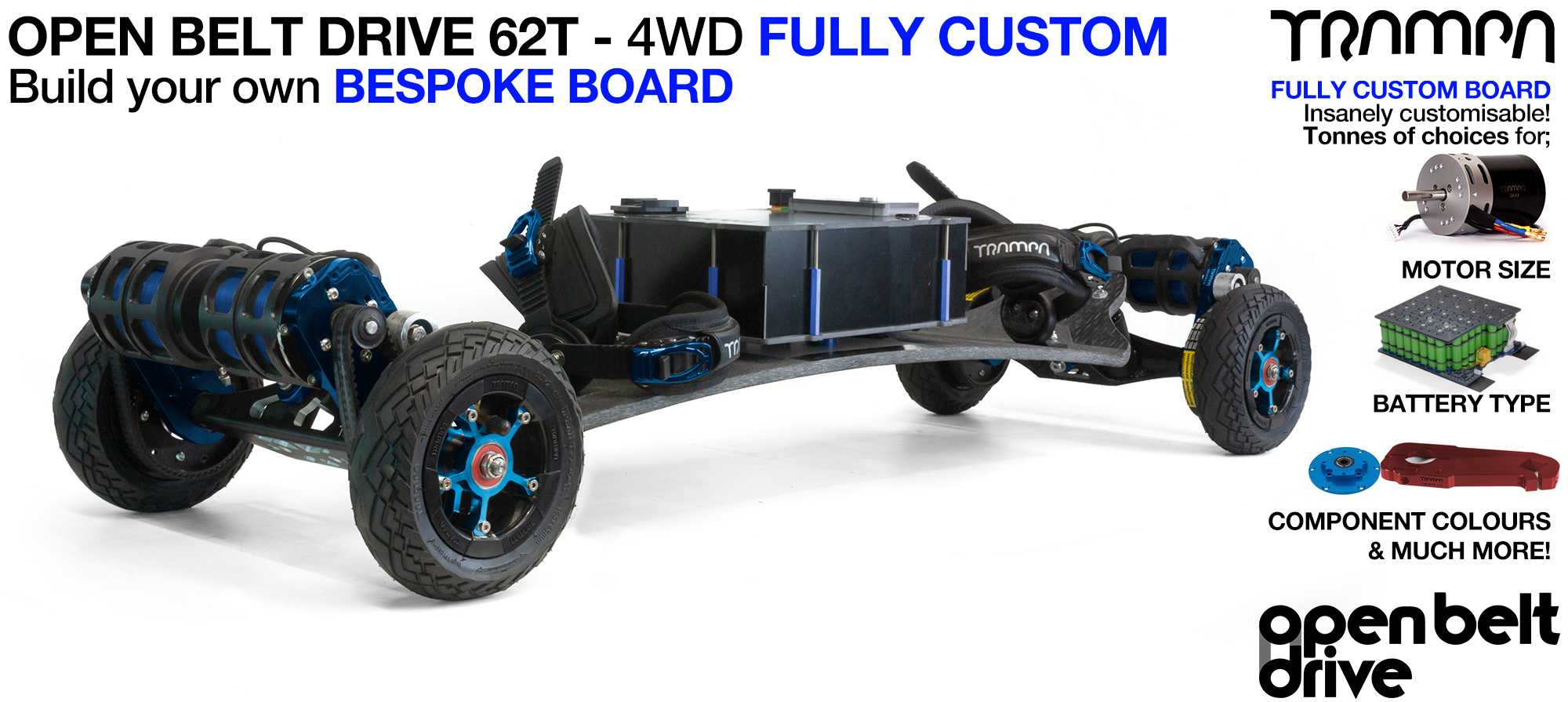 4WD 66T Open Belt Drive TRAMPA Electric Mountainboard with 6 Inch URBAN TREADs Wheels & 62 Tooth Pulleys - CUSTOM