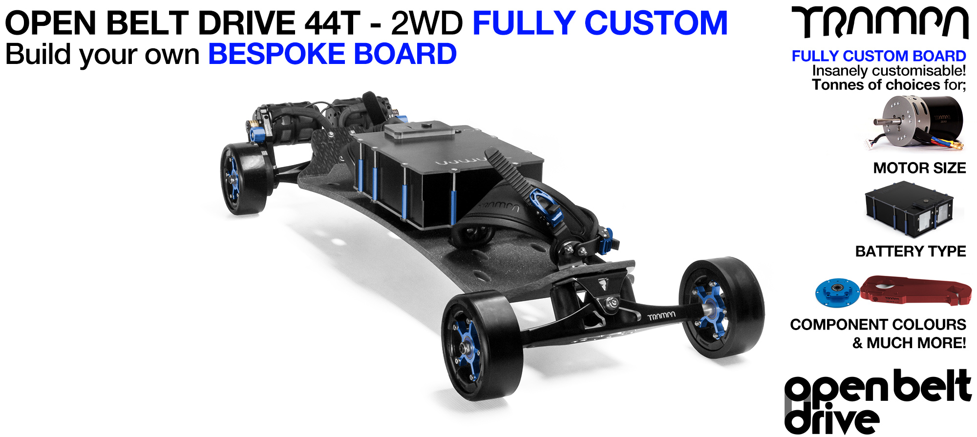 2WD 66T Open Belt Drive TRAMPA Electric Mountainboard with 125mm GUMMIES Giant Longboard Wheels & 44 Tooth Pulleys - CUSTOM