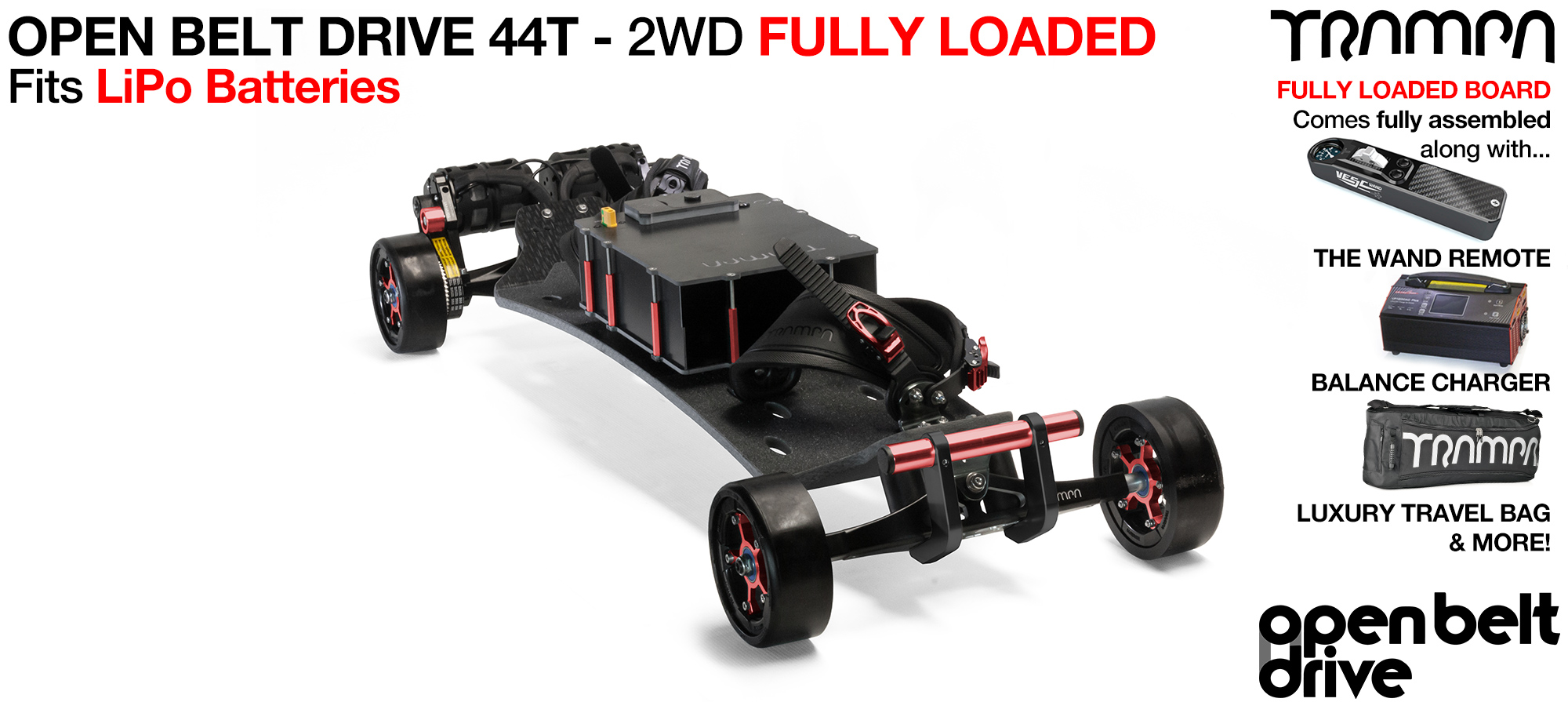 2WD 66T Open Belt Drive TRAMPA Electric Mountainboard with 125mm GUMMIES Giant Longboard Wheels & 44 Tooth Pulleys - LOADED Li-Po