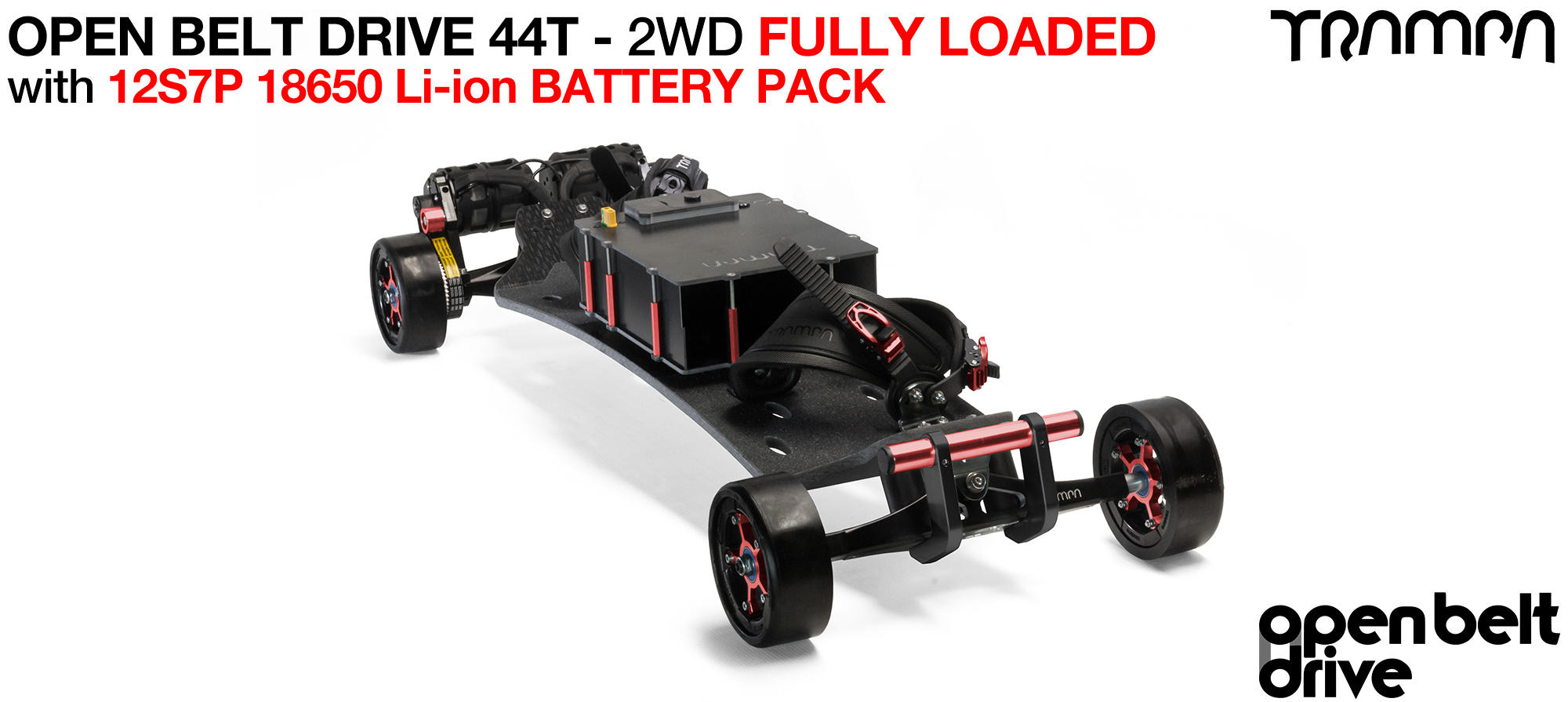2WD 66T Open Belt Drive TRAMPA Electric Mountainboard with 125mm GUMMIES Giant Longboard Wheels & 44 Tooth Pulleys - LOADED 18650 CELL Pack
