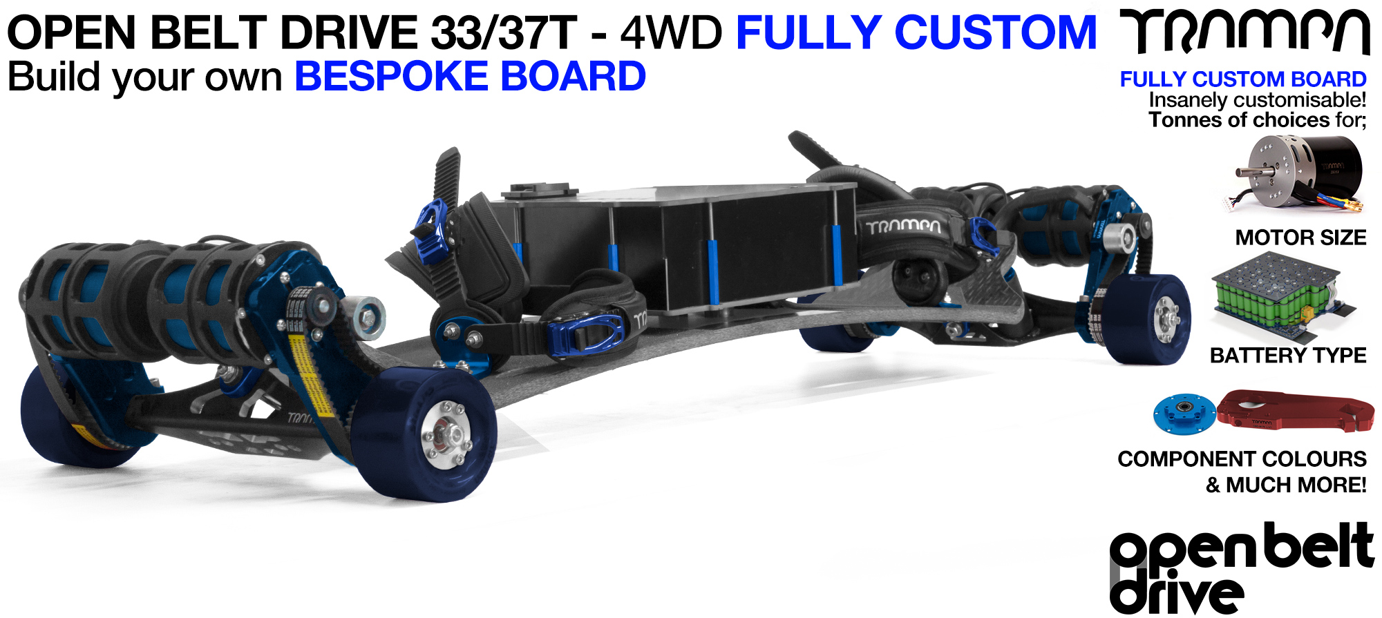 4WD 66T Open Belt Drive TRAMPA E-MTB with 83 or 90mm STICKIES Wheels & 33/37 Tooth Pulleys - CUSTOM