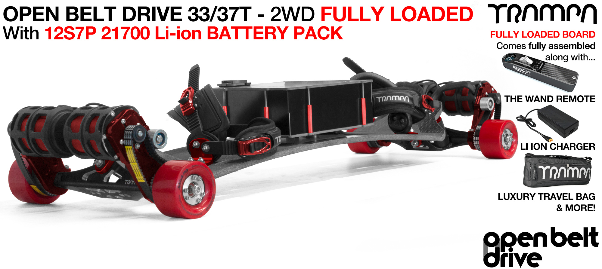 4WD 66T Open Belt Drive TRAMPA E-MTB with 83 or 90mm STICKIES Wheels & 33/37 Tooth Pulleys - LOADED