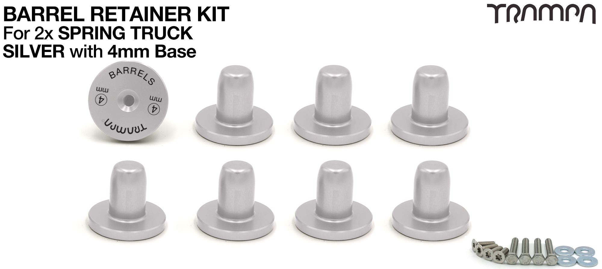 SILVER Barrel RETAINERS x8 with 4mm Base