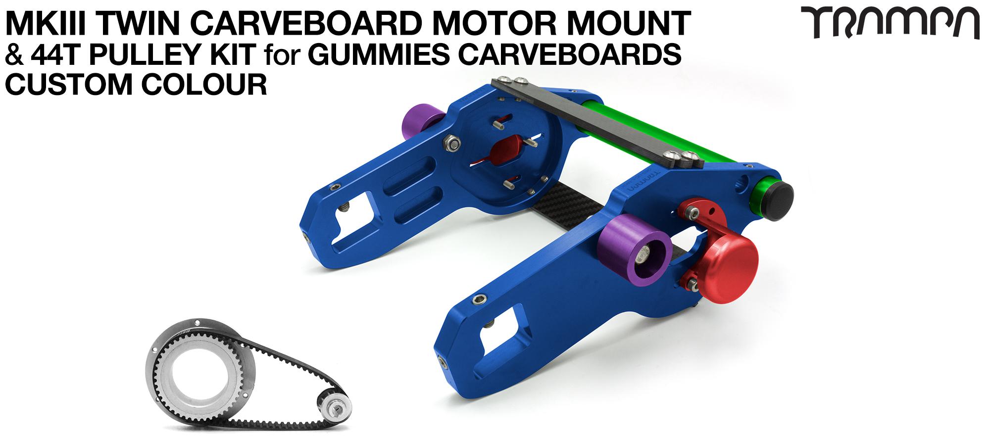 MkIII GUMMIES CARVEBOARD Motormount Connector Panel & 44 Tooth Pulleys - TWIN