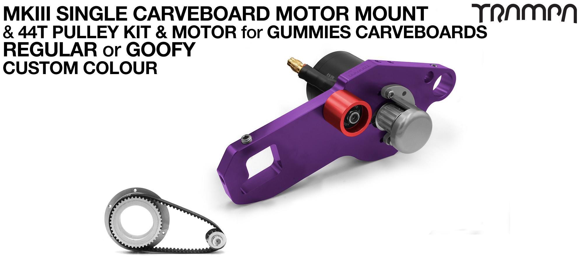 MkIII GUMMIES CARVEBOARD Motormount Connector Panel & 44 Tooth Pulley Kit & Motor - SINGLE