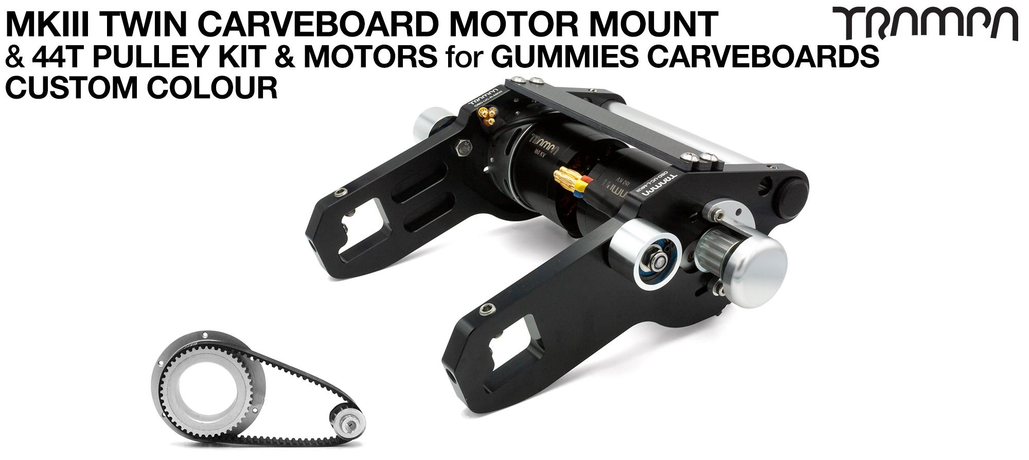 MkIII GUMMIES CARVEBOARD Motormount Connector Panel & 44 Tooth Pulley Kit & Motor - TWIN