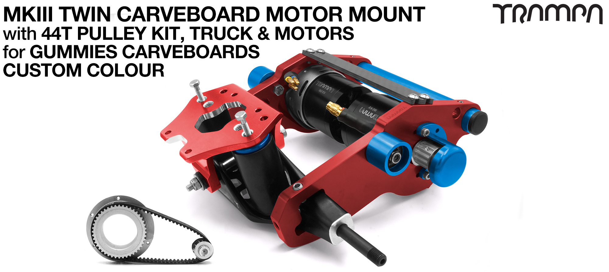 MkIII GUMMIES CARVEBOARD Motormount Connector Panel On a TRUCK with 44 Tooth Pulley Kit & Motor - TWIN