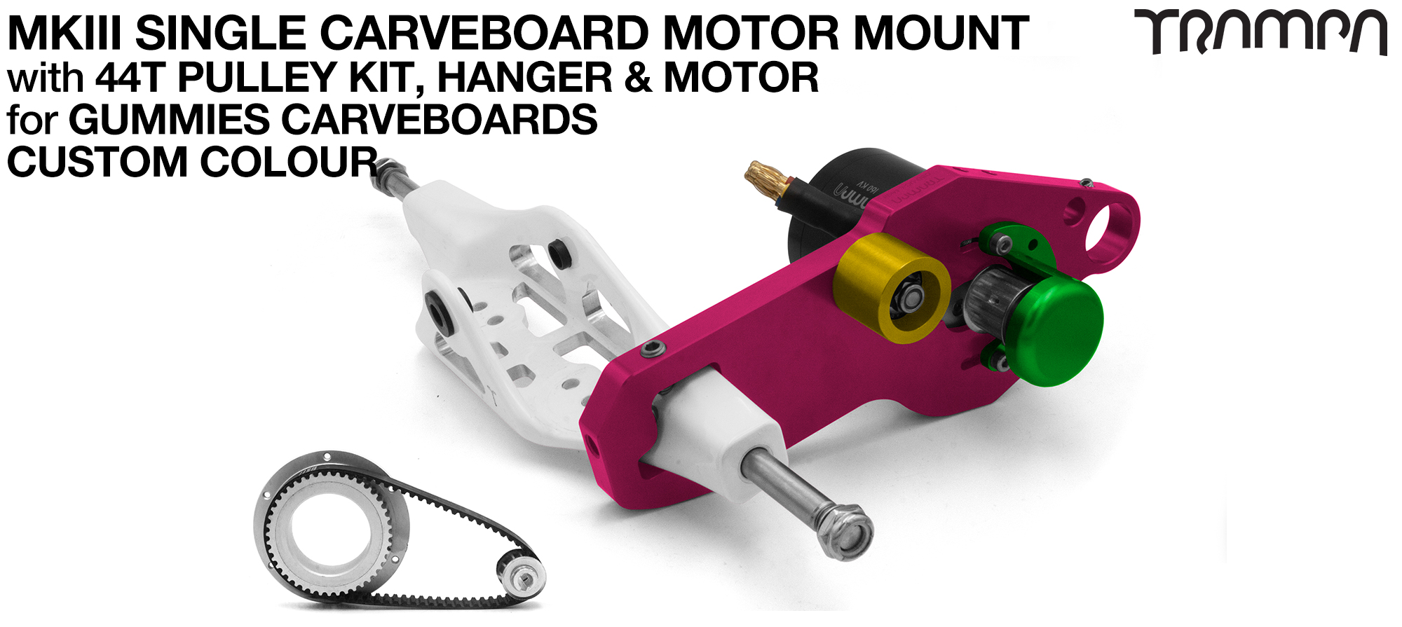 MkIII GUMMIES CARVEBOARD Motormount on a Mini HANGER with 44 Tooth Pulley Kit & Motor - SINGLE