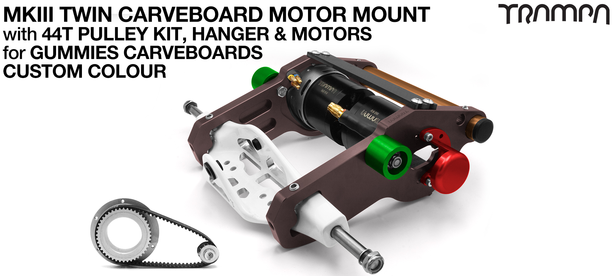 MkIII GUMMIES CARVEBOARD Motor mount Connector Panel On a HANGER with 44 Tooth Pulley Kit & Motor - TWIN