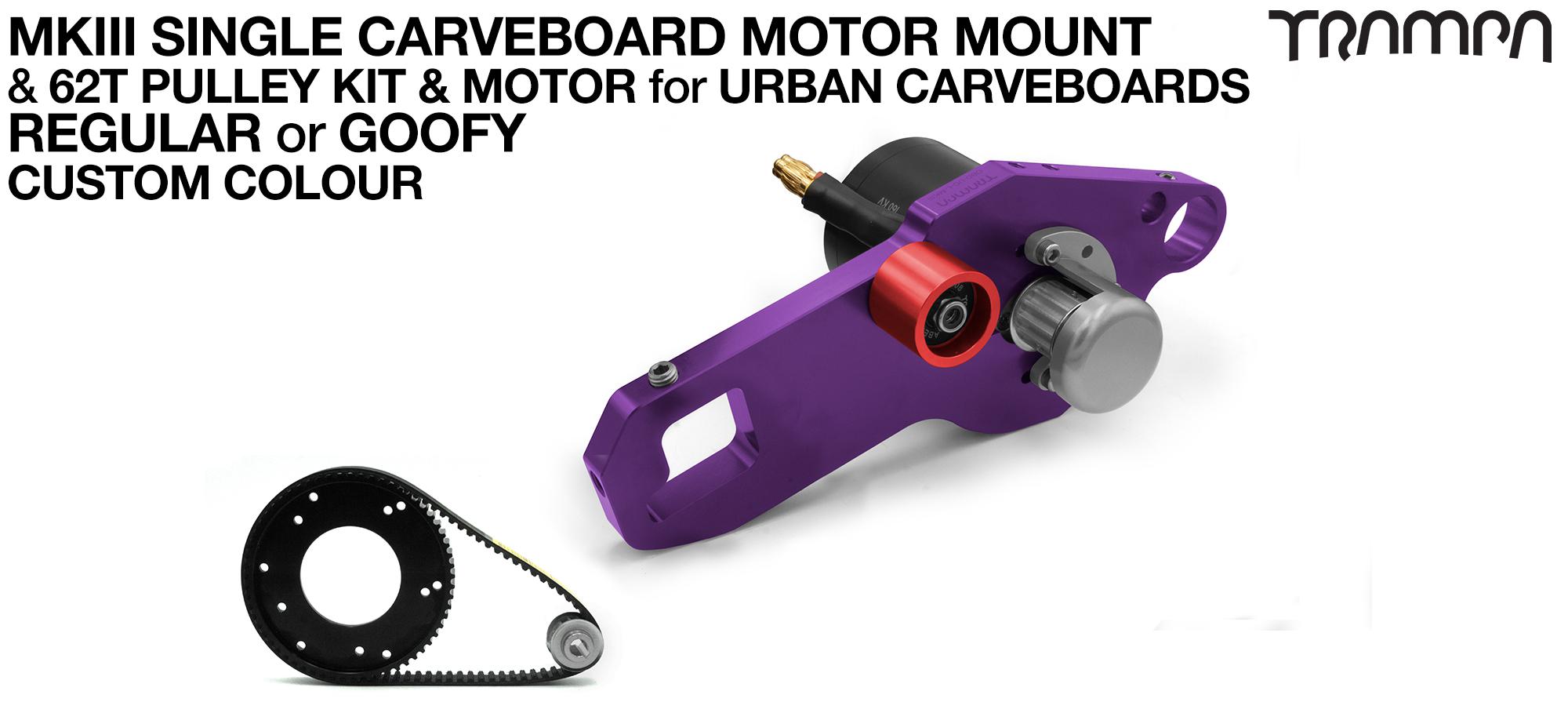 MkIII URBAN CARVEBOARD Motormount Connector Panel & 62 Tooth Pulley Kit & Motor - SINGLE