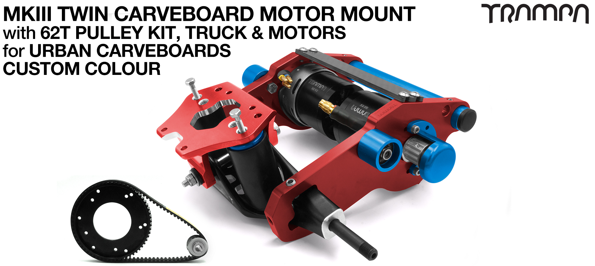 MkIII URBAN CARVEBOARD Motormount Connector Panel on a TRUCK with 62 Tooth Pulley Kit & Motor - TWIN