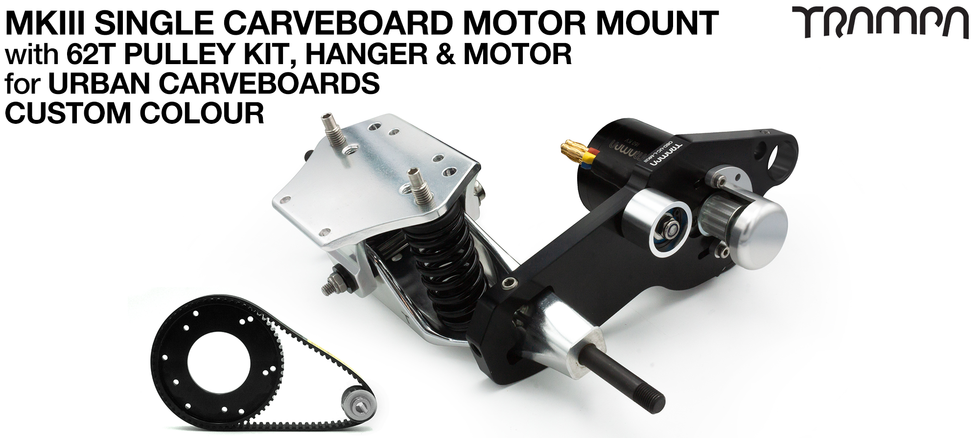MkIII URBAN CARVEBOARD Motormount on a TRUCK with 44 Tooth Pulley Kit & Motor - SINGLE