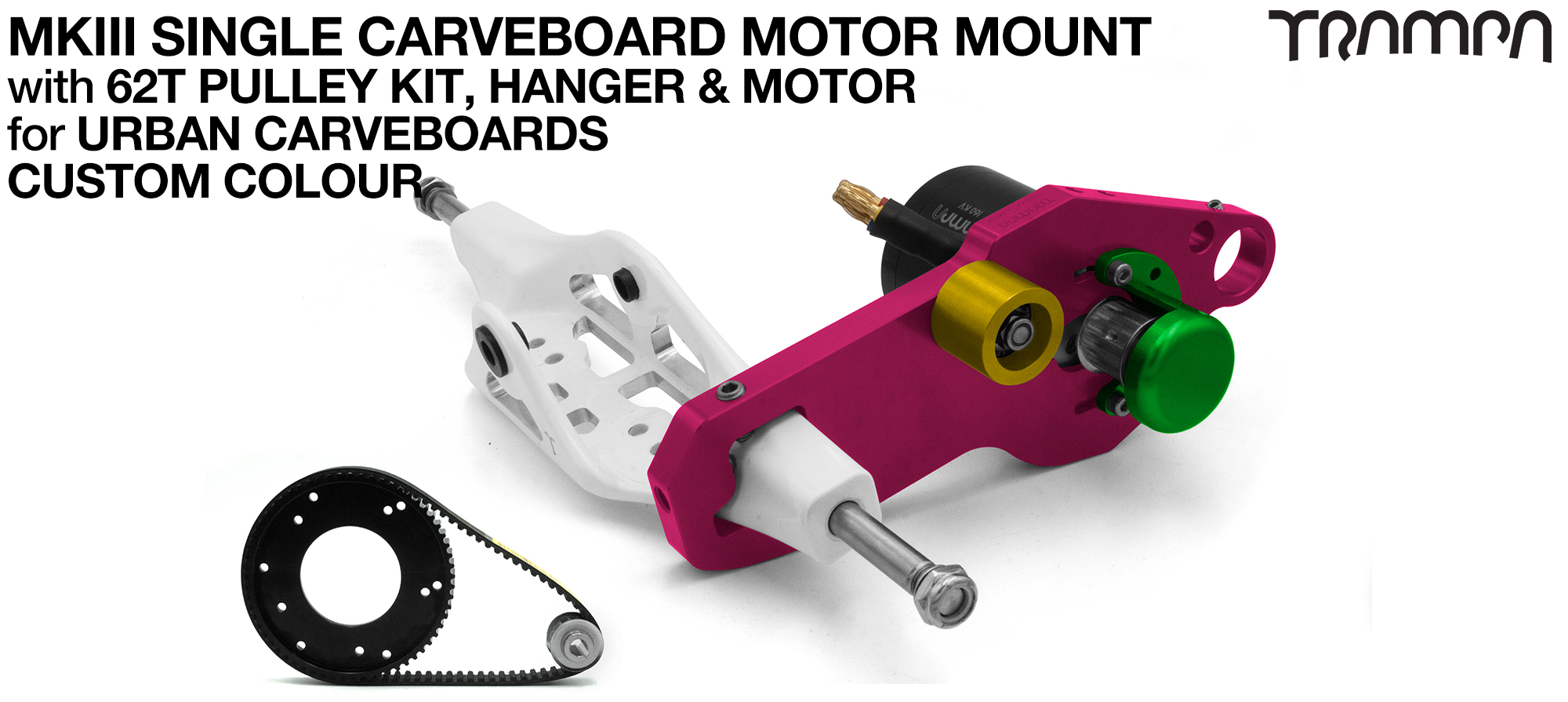 MkIII URBAN CARVEBOARD Motormount on a Mini HANGER with 62 Tooth Pulley Kit & Motor - SINGLE