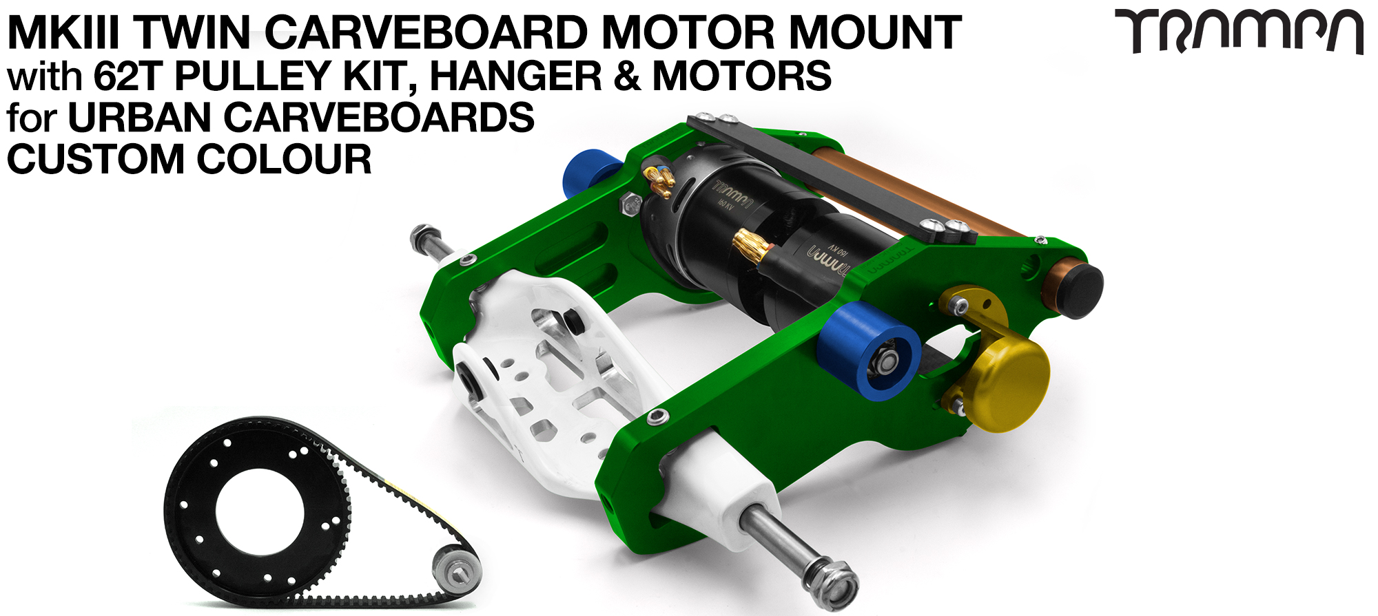 MkIII URBAN CARVEBOARD Motor mount Connector Panel on a HANGER with 44 Tooth Pulley Kit & Motor - TWIN