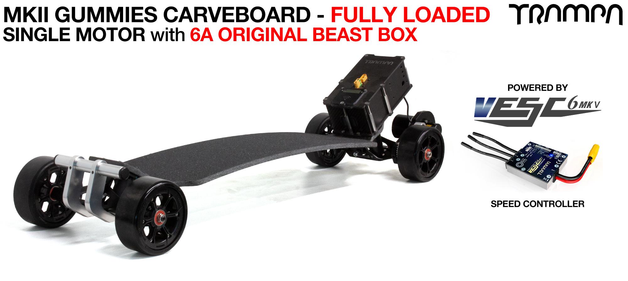 TRAMPA's MkII Electric GUMMIES Carveboard - uses Mini Spring Trucks with MkII Carve board Motor Mount,s Custom TRAMPA hubs & 125mm GUMMIES longboard Tyres - SINGLE Motor FULLY LOADED