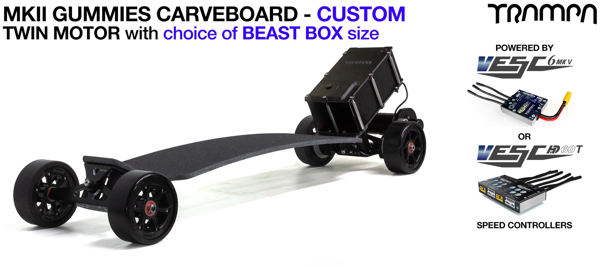 TRAMPA's MkII Electric GUMMIES Carveboard - uses Mini Spring Trucks with MkII Carve board Motor Mount,s Custom TRAMPA hubs & 125mm GUMMIES longboard Tyres - TWIN Motor CUSTOM