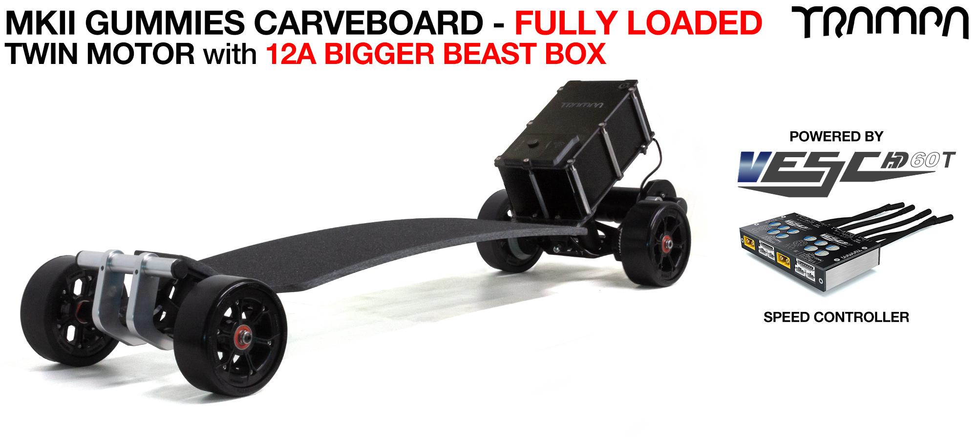 TRAMPA's MkII Electric GUMMIES Carveboard - uses Mini Spring Trucks with MkII Carve board Motor Mounts Custom TRAMPA hubs & 125mm GUMMIES longboard Tyres - TWIN Motor 12A FULLY LOADED