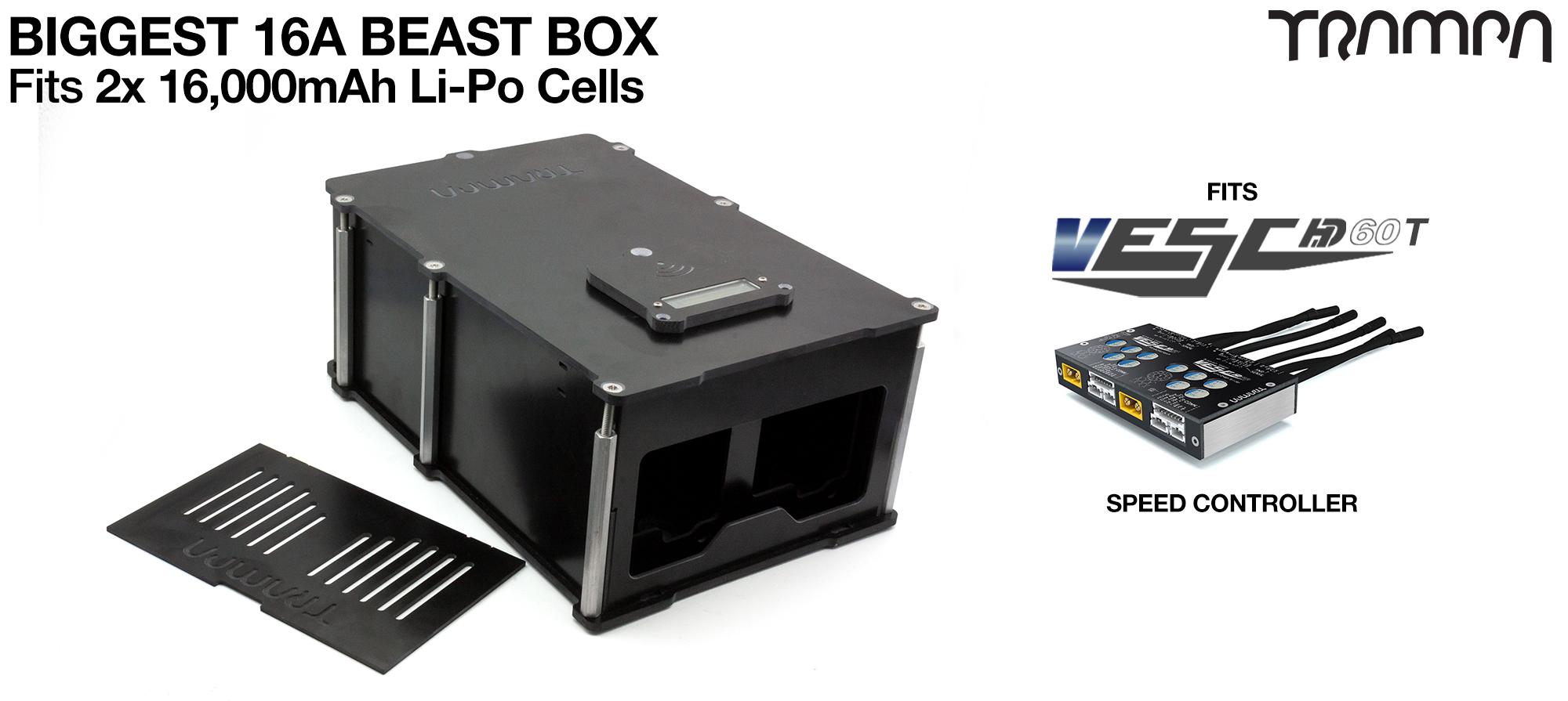 16A BIGGEST BEAST Box fits 2x 6s 16A cells with Internal VESC Housing that fits 1x HD-60T - TWIN Motor