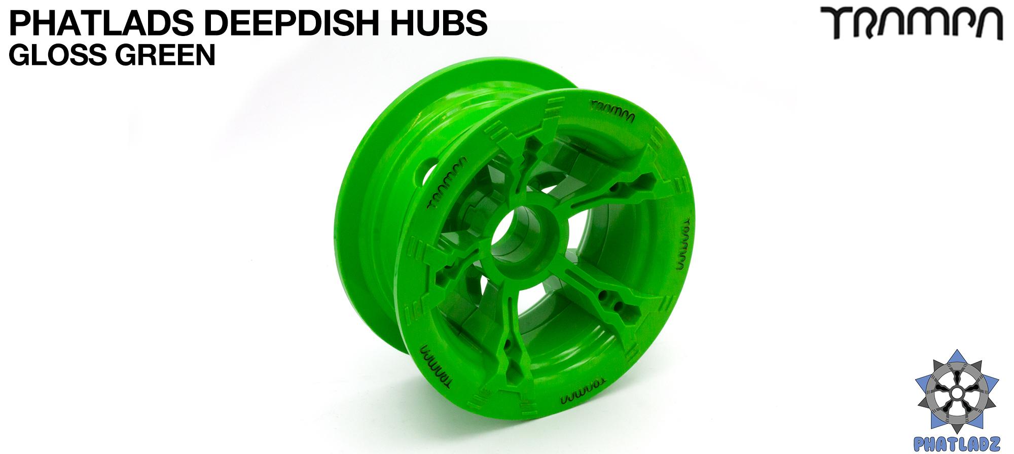 GREEN Gloss BLACK Logo PHATLADS Hub (+£20)
