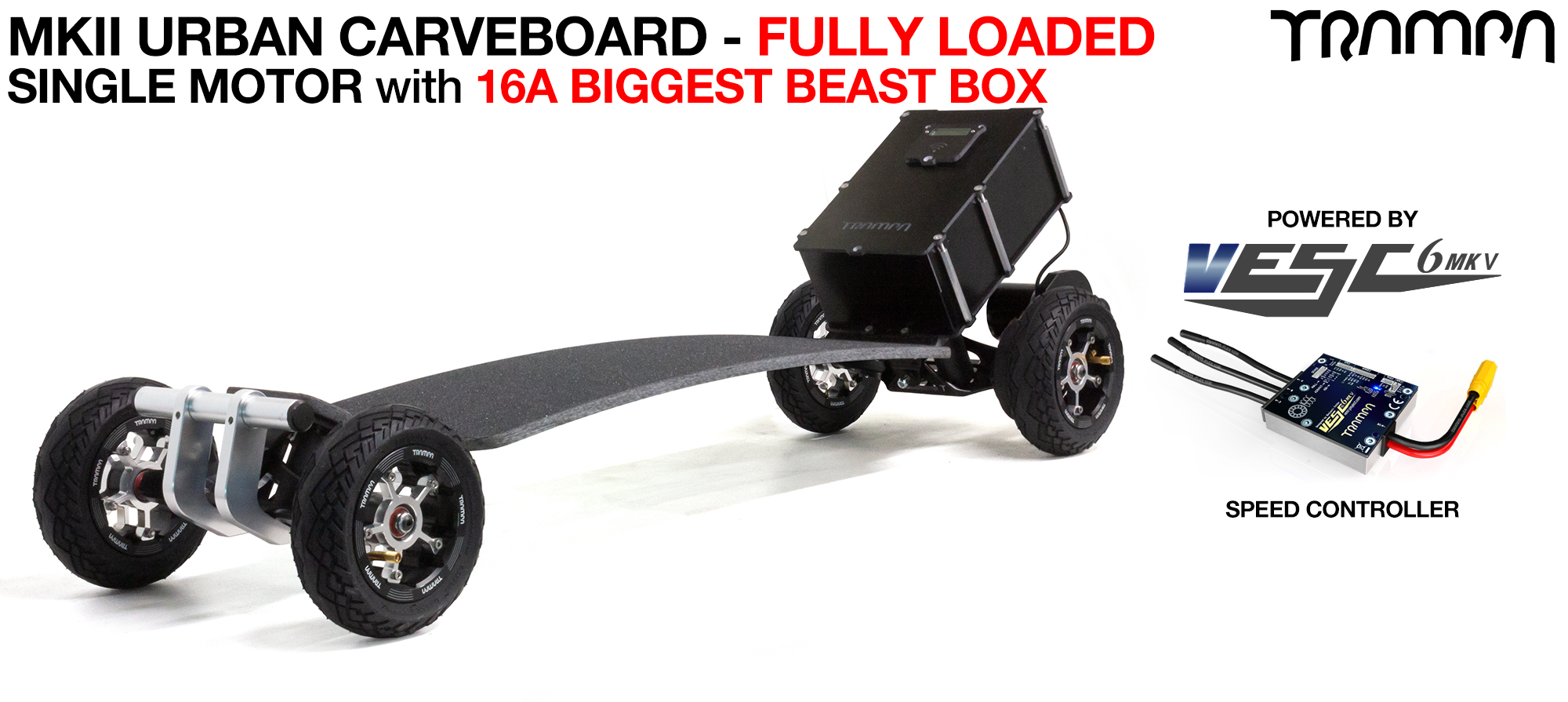 TRAMPA's MkII Electric URBAN Carveboard - uses Mini Spring Trucks with MkII Carve board Motor Mount,s Custom TRAMPA hubs & 125mm URBAN longboard Tyres - SINGLE Motor 16A FULLY LOADED MEGASTAR