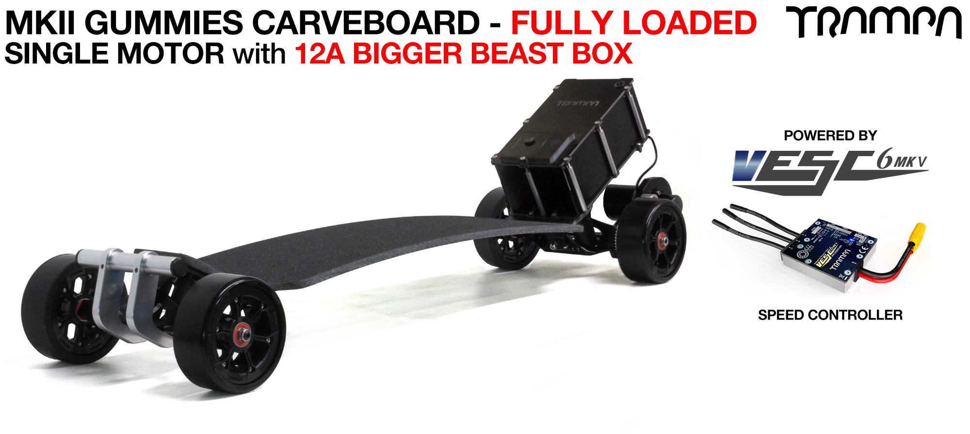 TRAMPA's MkII Electric GUMMIES Carveboard - uses Mini Spring Trucks with MkII Carve board Motor Mount,s Custom TRAMPA hubs & 125mm GUMMIES longboard Tyres - SINGLE Motor 12A FULLY LOADED