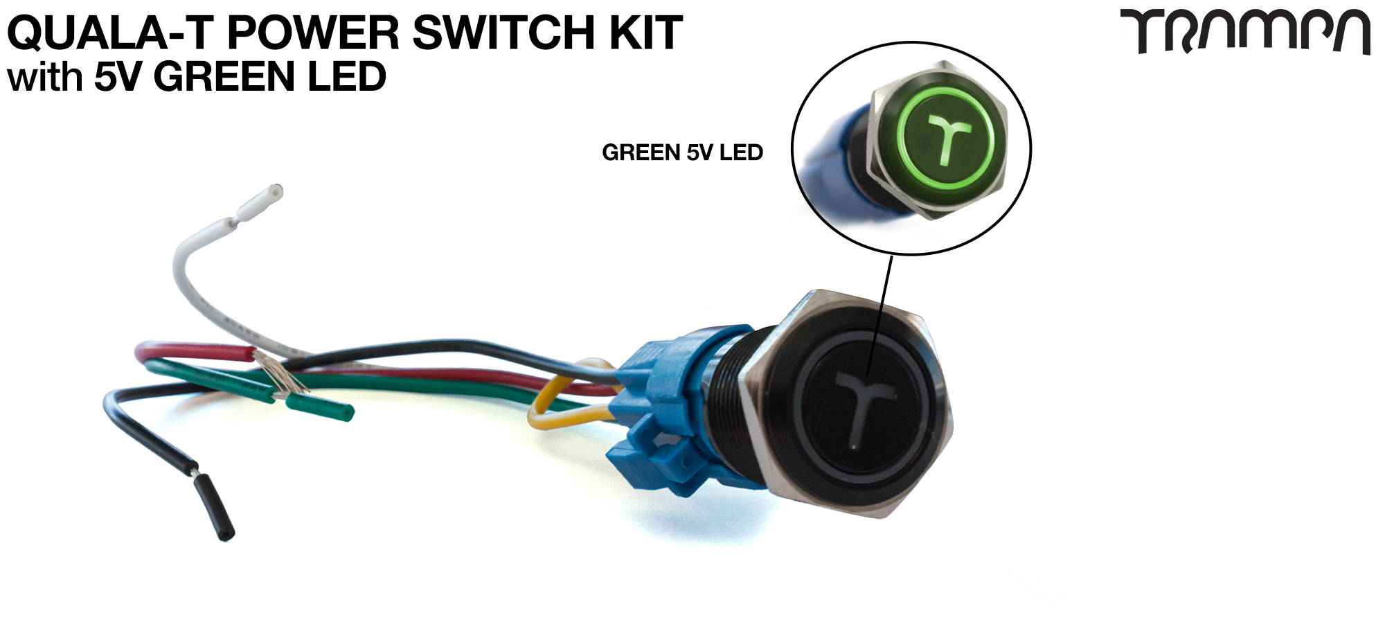 GREEN LED QUALA-T Power Switch Kit with 16mm Fixing Nut & Cable Harness