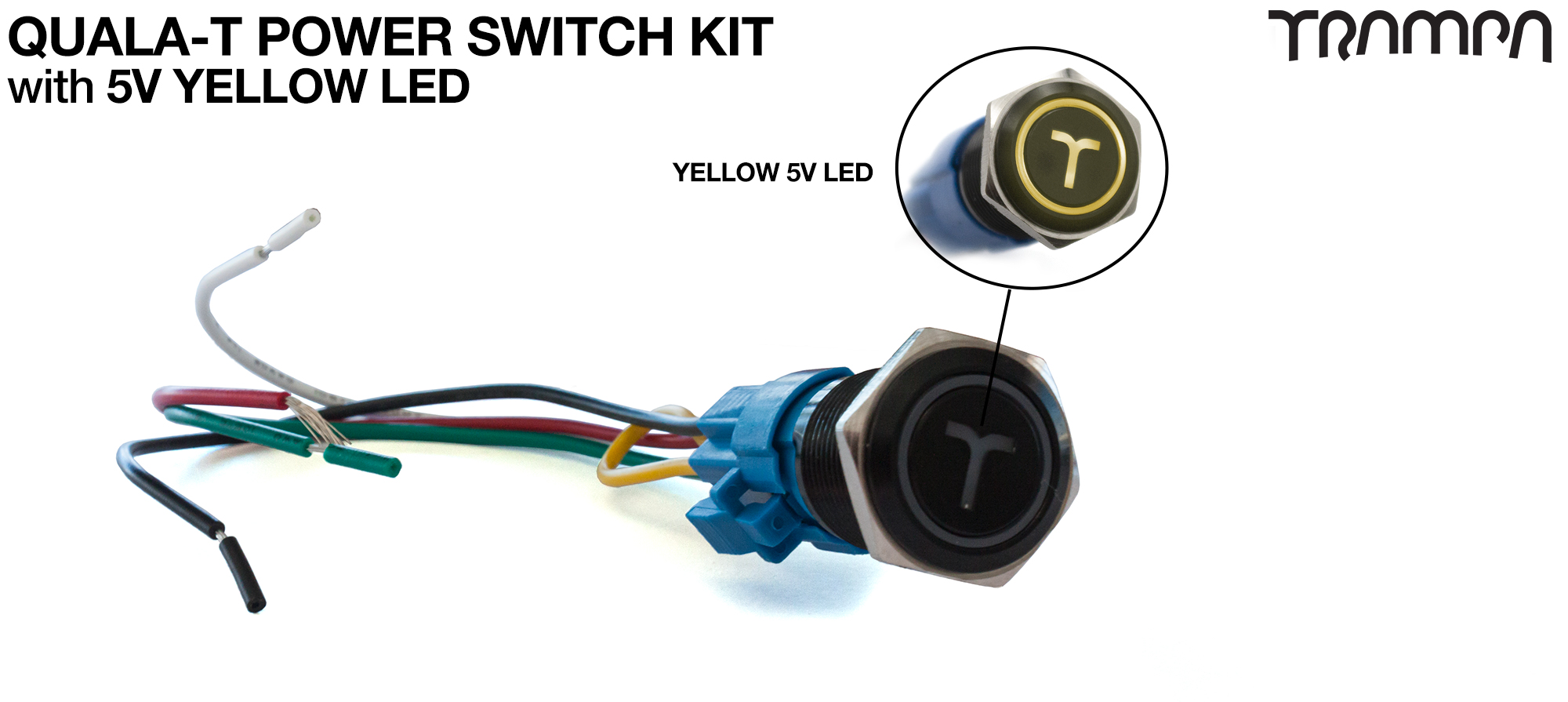 YELLOW LED QUALA-T Power Switch Kit with 16mm Fixing Nut & Cable Harness
