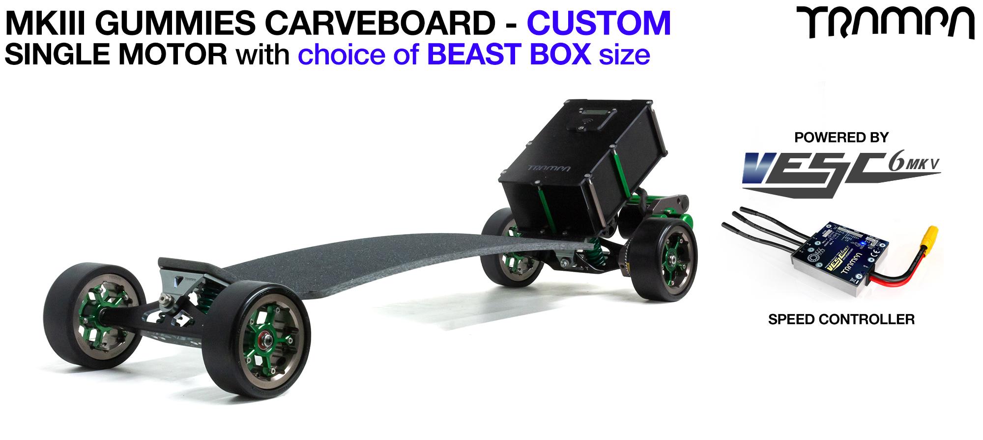 TRAMPA's MkIII Electric GUMMIES Carveboard - uses Mini Spring Trucks with MkIII Carve board Motor Mount,s Custom TRAMPA hubs & 125mm GUMMIES longboard Tyres - SINGLE Motor CUSTOM