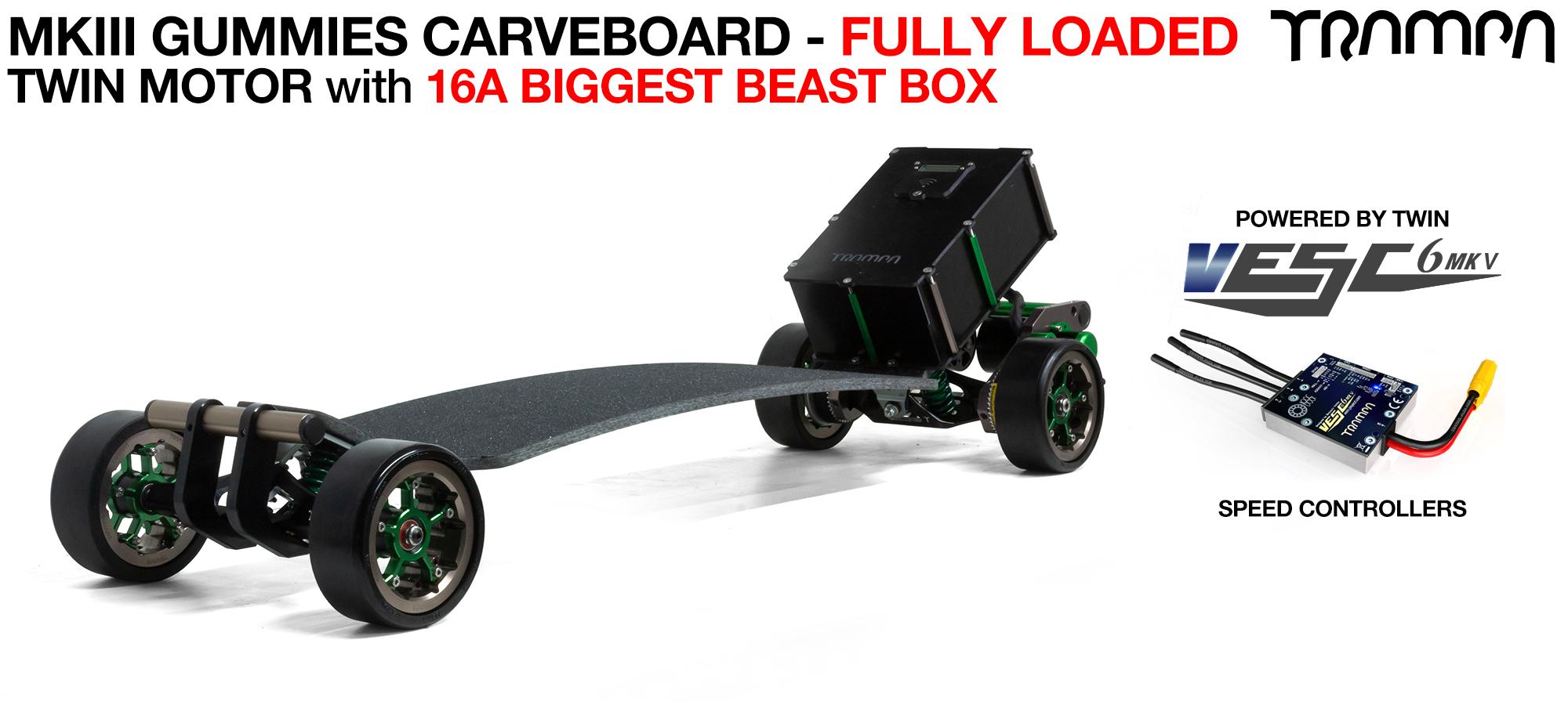 MkIII GUMMIE ELECTRIC Carveboard 3 in 1 TWIN MOTOR with massive 16A BEAST Box Mini Spring Trucks & OFFSET MEGASTAR Wheels