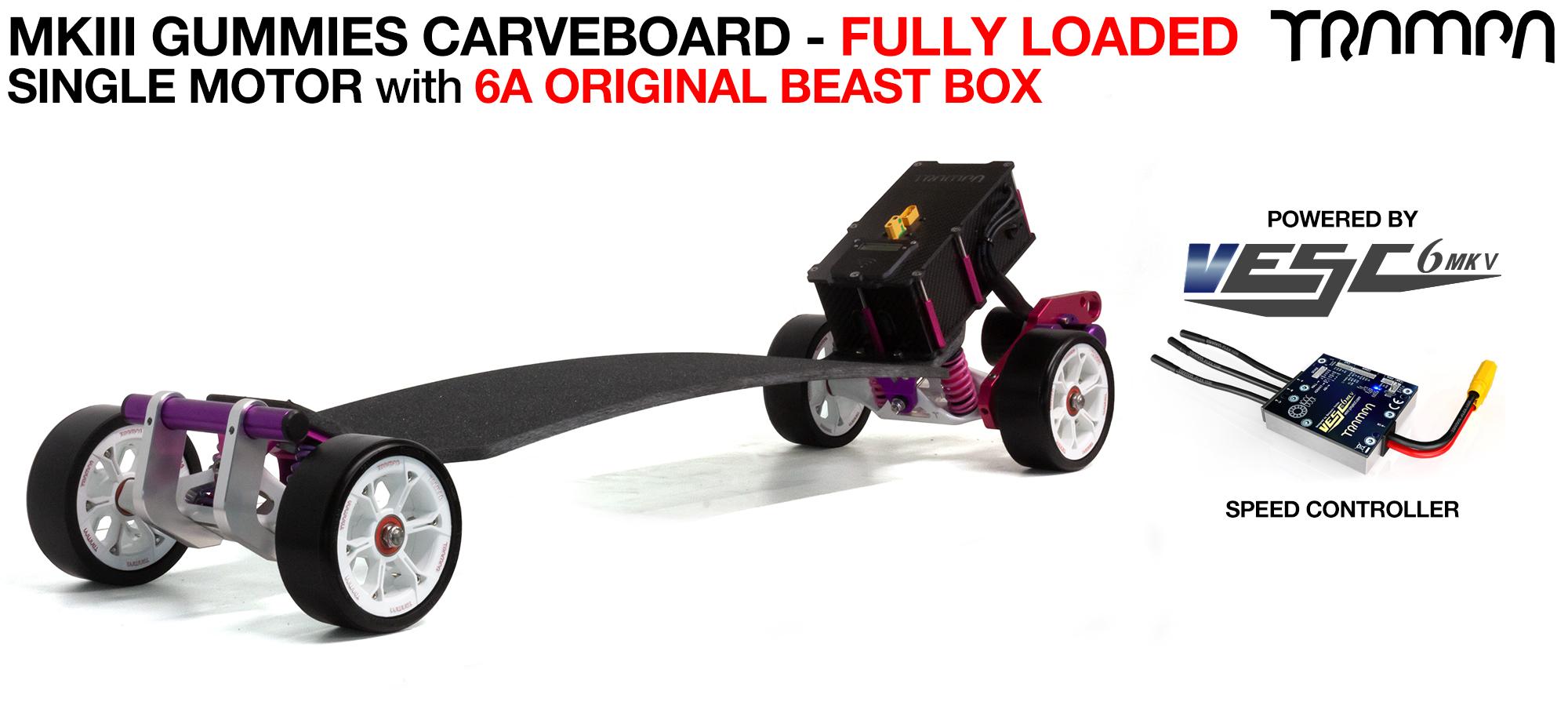 TRAMPA's MkIII Electric GUMMIES Carveboard - uses Mini Spring Trucks with MkIII Carve board Motor Mount,s Custom TRAMPA hubs & 125mm GUMMIES longboard Tyres - SINGLE Motor 6.2A FULLY LOADED