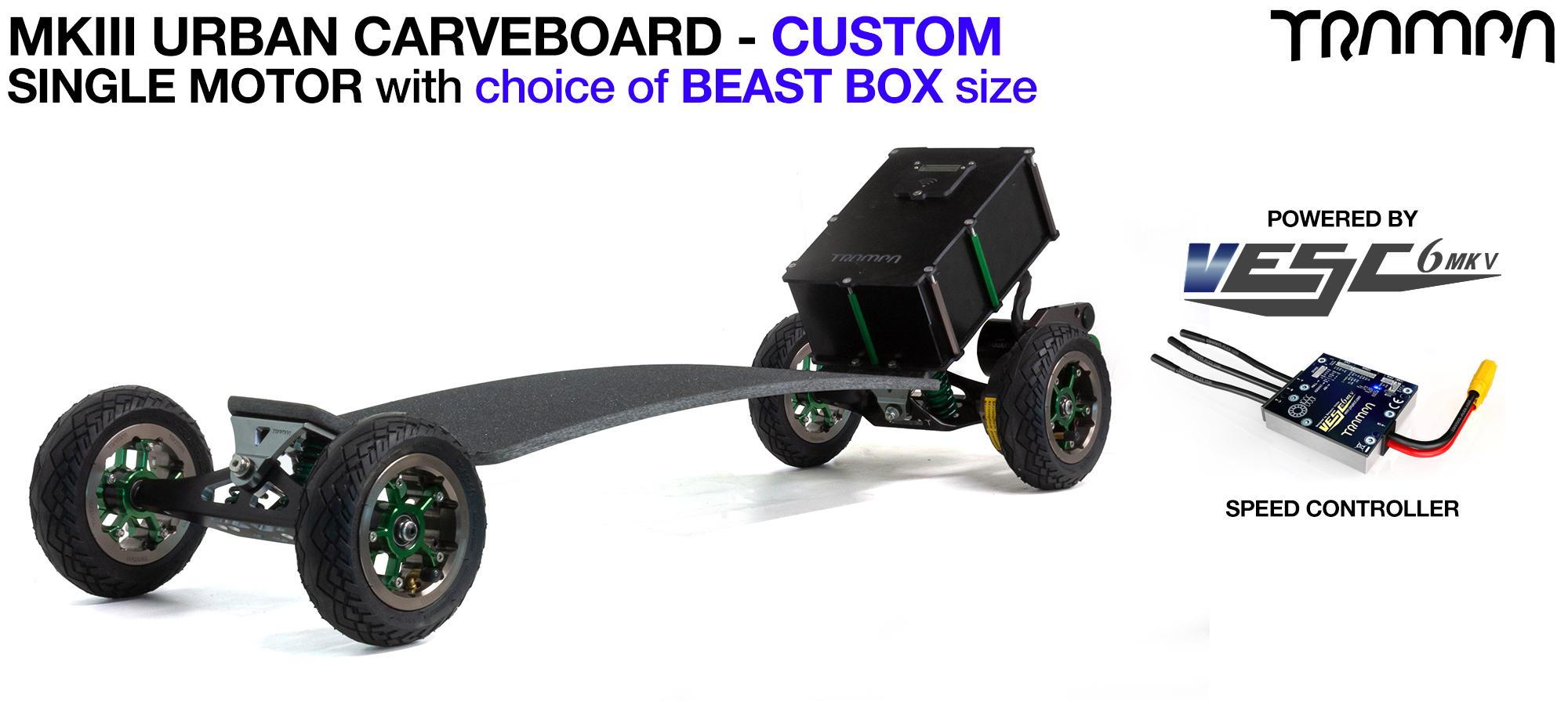TRAMPA's MkIII Electric URBAN Carveboard - uses Mini Spring Trucks with MkIII Carve board Motor Mount,s Custom TRAMPA hubs & 125mm URBAN longboard Tyres - SINGLE Motor CUSTOM