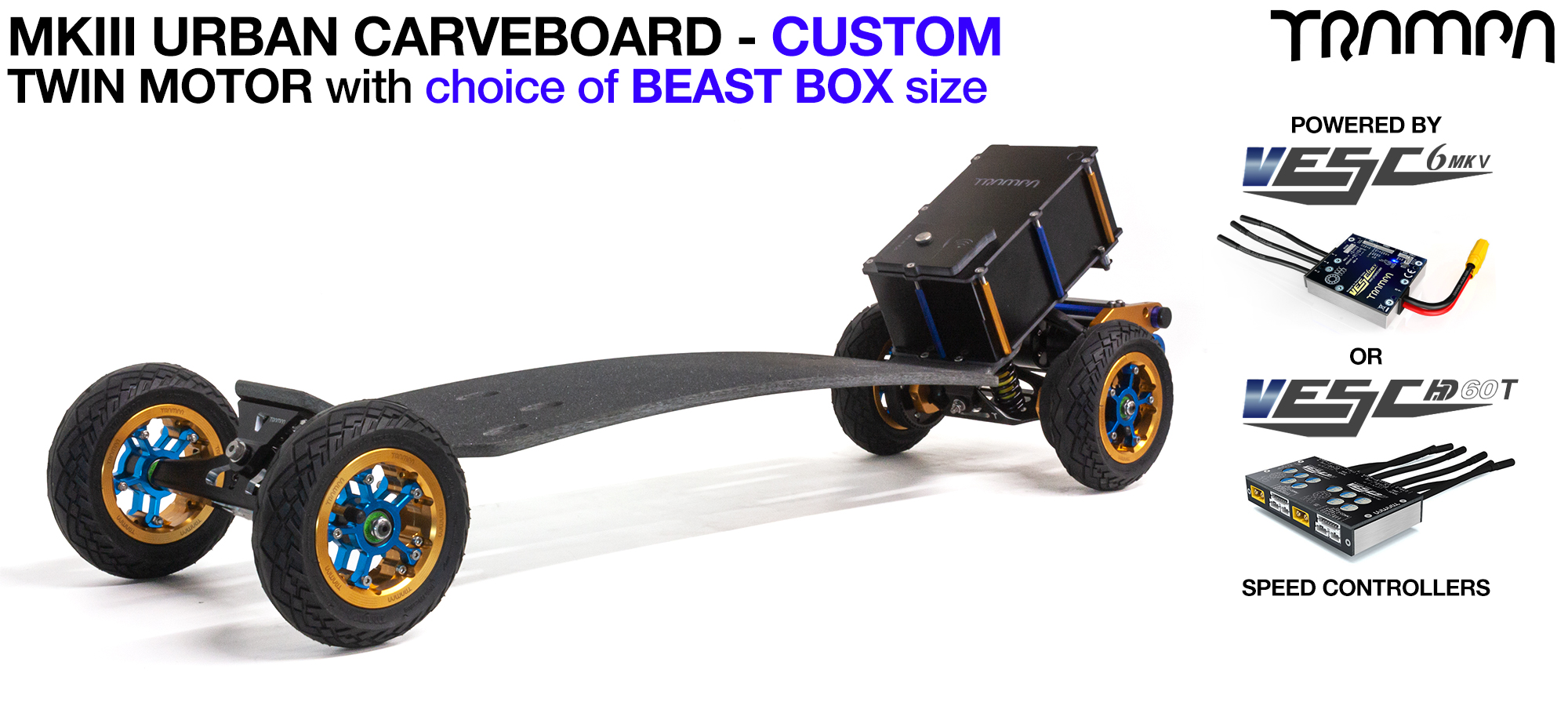 TRAMPA's MkIII Electric URBAN Carveboard - uses Mini Spring Trucks with MkIII Carve board Motor Mount,s Custom TRAMPA hubs & 125mm URBAN longboard Tyres - TWIN Motor CUSTOM
