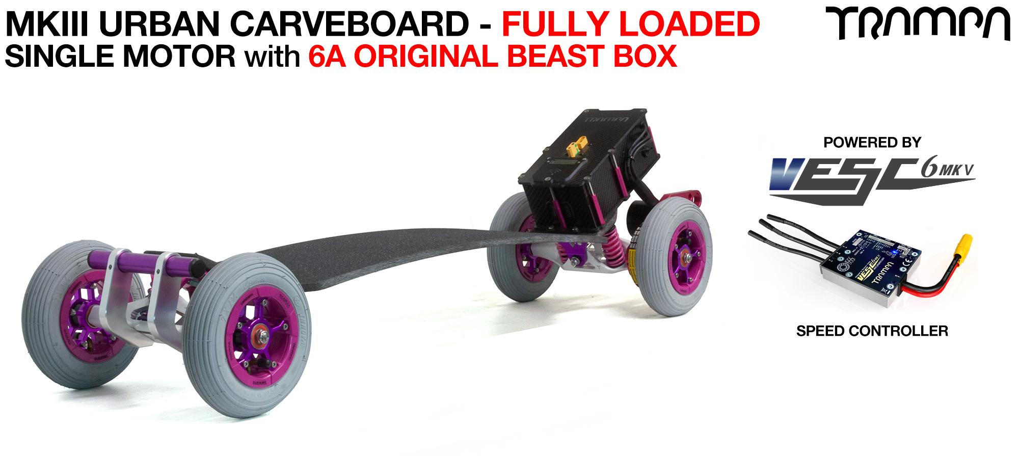 TRAMPA's MkIII Electric URBAN Carveboard - uses Mini Spring Trucks with MkIII Carve board Motor Mount,s Custom TRAMPA hubs & 125mm URBAN longboard Tyres - SINGLE Motor 6.2A FULLY LOADED