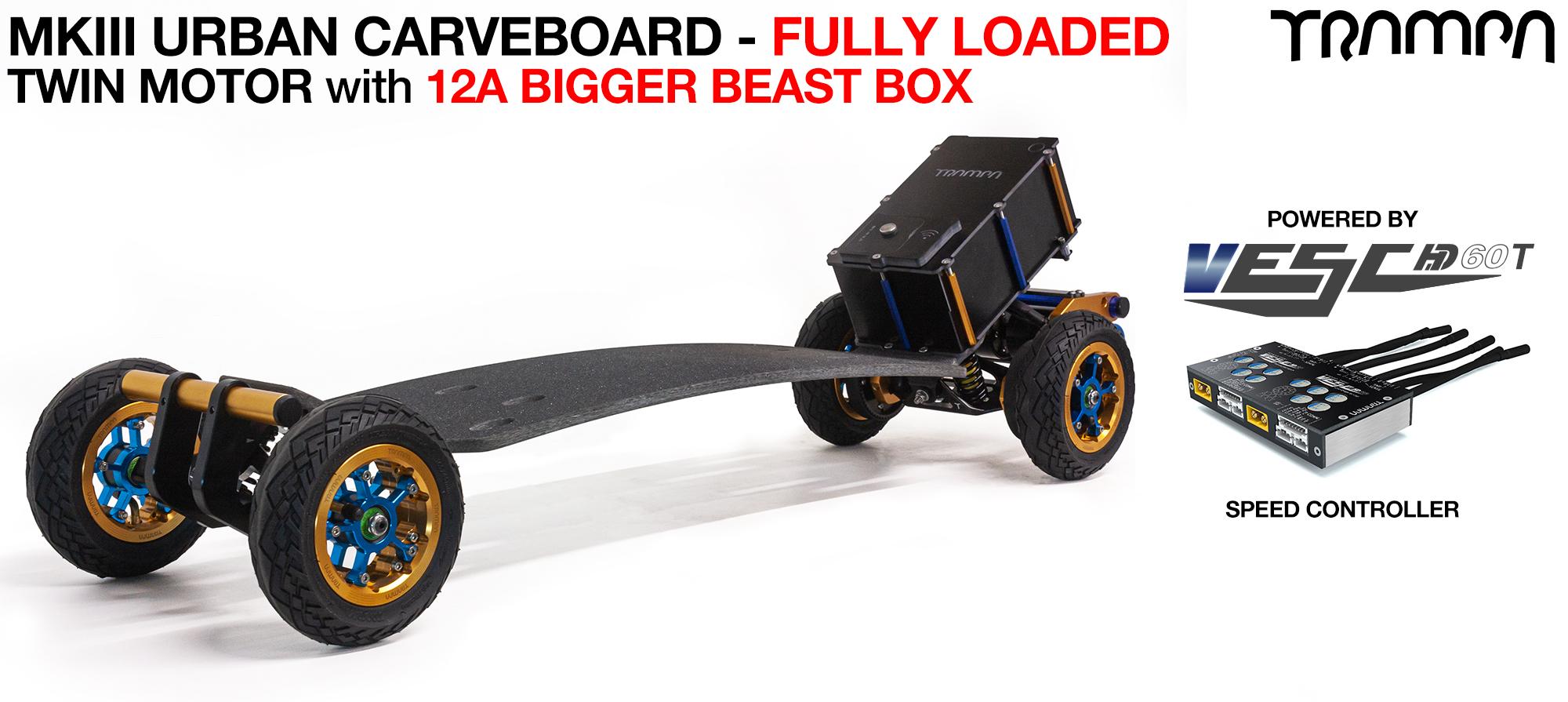 TRAMPA's MkIII Electric URBAN Carveboard - uses Mini Spring Trucks with MkIII Carve board Motor Mounts Custom TRAMPA hubs & 125mm URBAN longboard Tyres - TWIN Motor FULLY LOADED