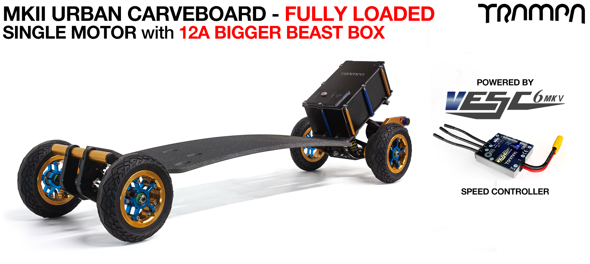 TRAMPA's MkIII Electric URBAN Carveboard - uses Mini Spring Trucks with MkIII Carve board Motor Mount,s Custom TRAMPA hubs & 125mm URBAN longboard Tyres - SINGLE Motor 12A FULLY LOADED