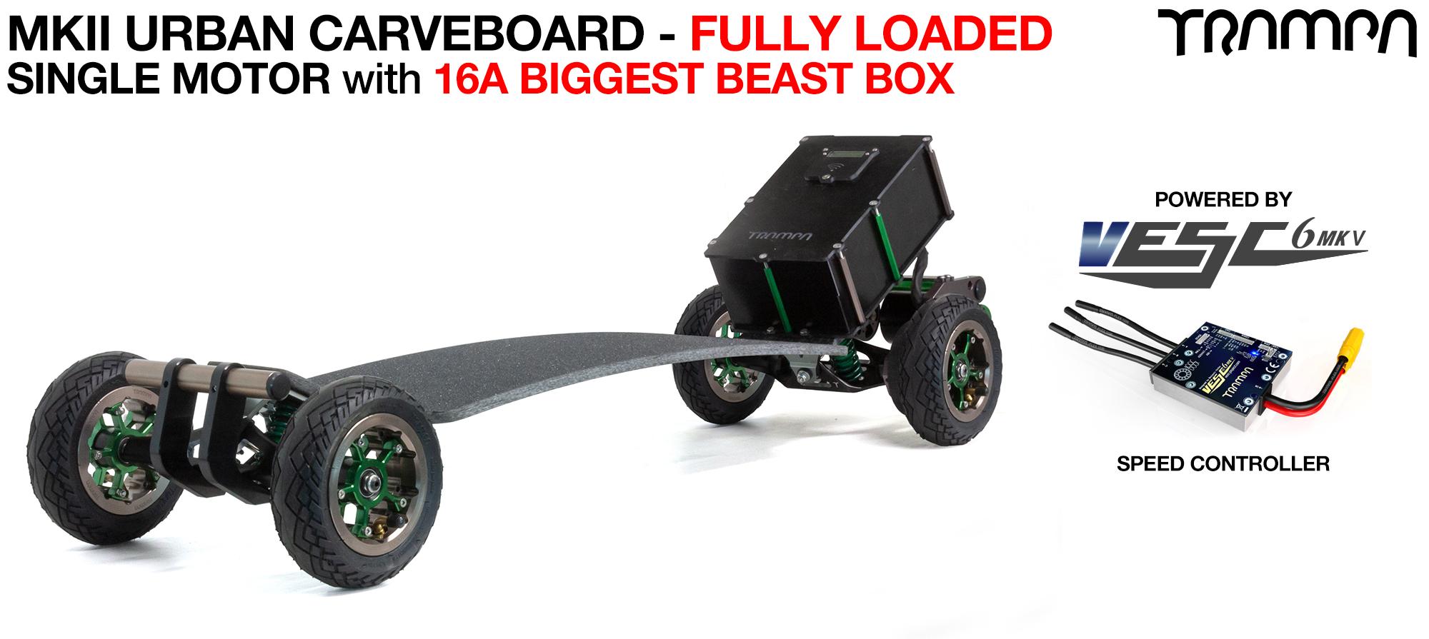 TRAMPA's MkIII Electric URBAN Carveboard - uses Mini Spring Trucks with MkIII Carve board Motor Mount,s Custom TRAMPA hubs & 125mm URBAN longboard Tyres - SINGLE Motor 16A FULLY LOADED MEGASTAR