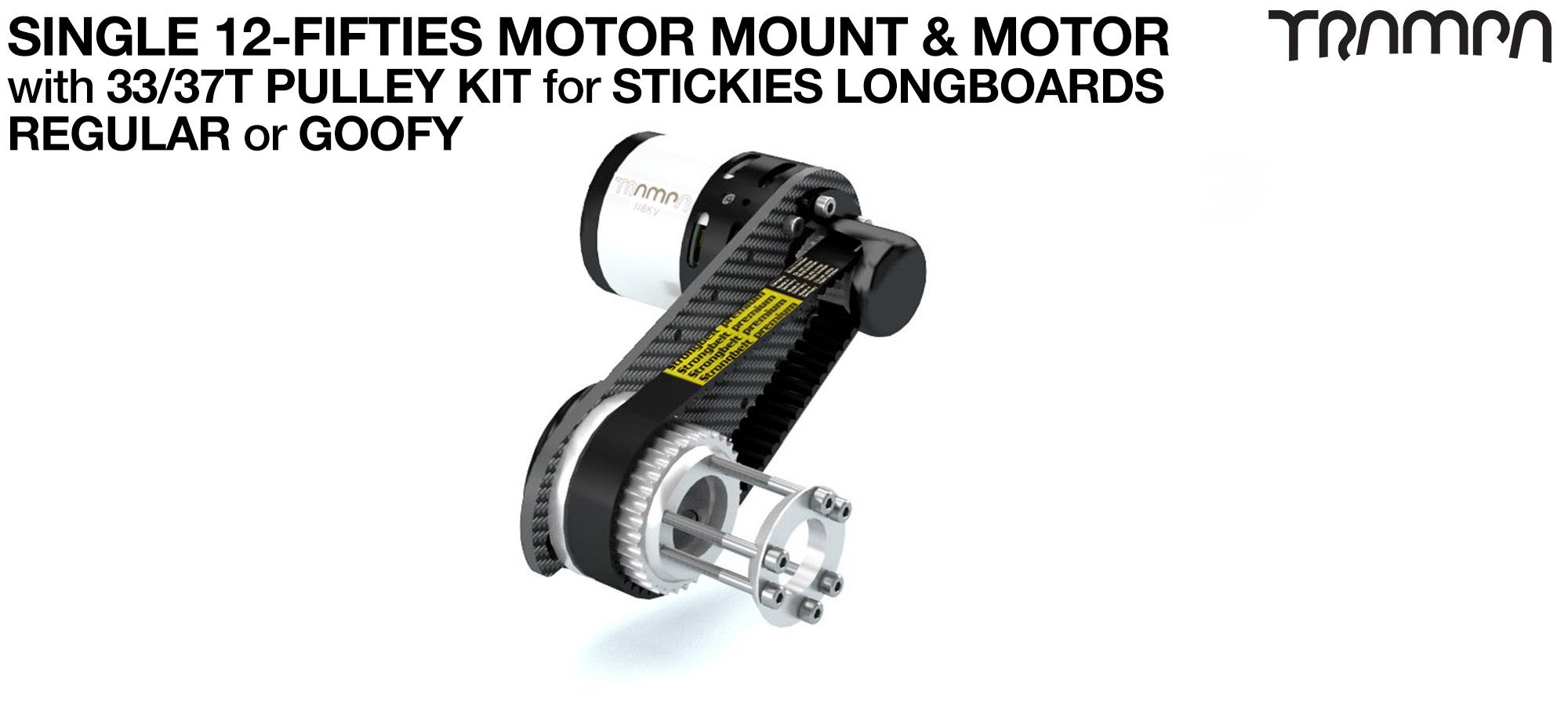 Original 12FiFties Motor Mount with Custom Motor & 33/37 Pulley Kit for STICKIES Wheels - SINGLE
